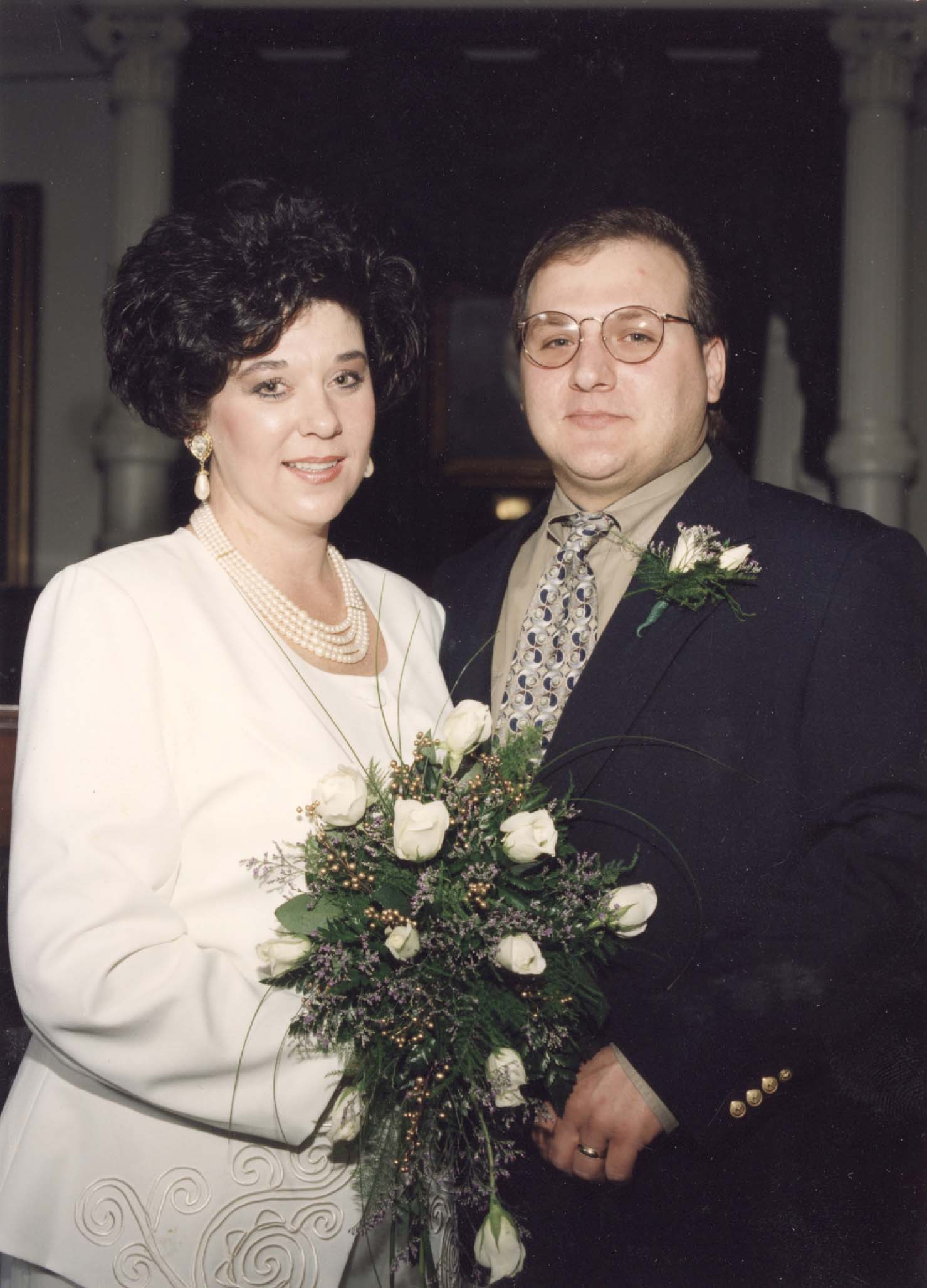 Tina and James in the Texas State Capitol Senate Chambers in Austin, Texas, on their wedding day, November 10, 1995.