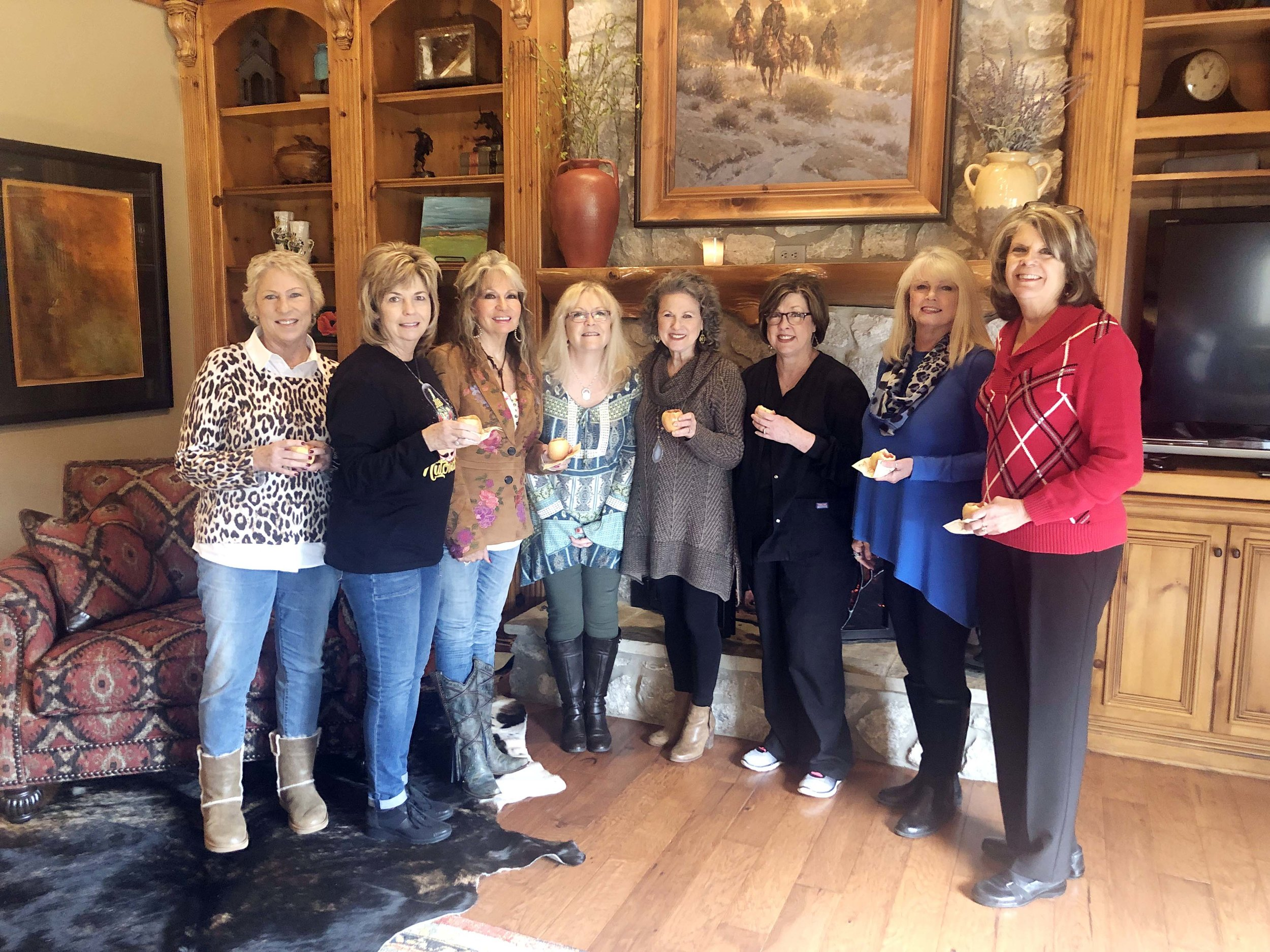 This past November, Jan (right) and her friends, Nanette Pope, Debbie Stroupe, Pam Hicks, Sylvia Jacobs, Judy Jones, Sherry Richardson, and Sharon Shipp, gathered together to celebrate Judy's birthday.