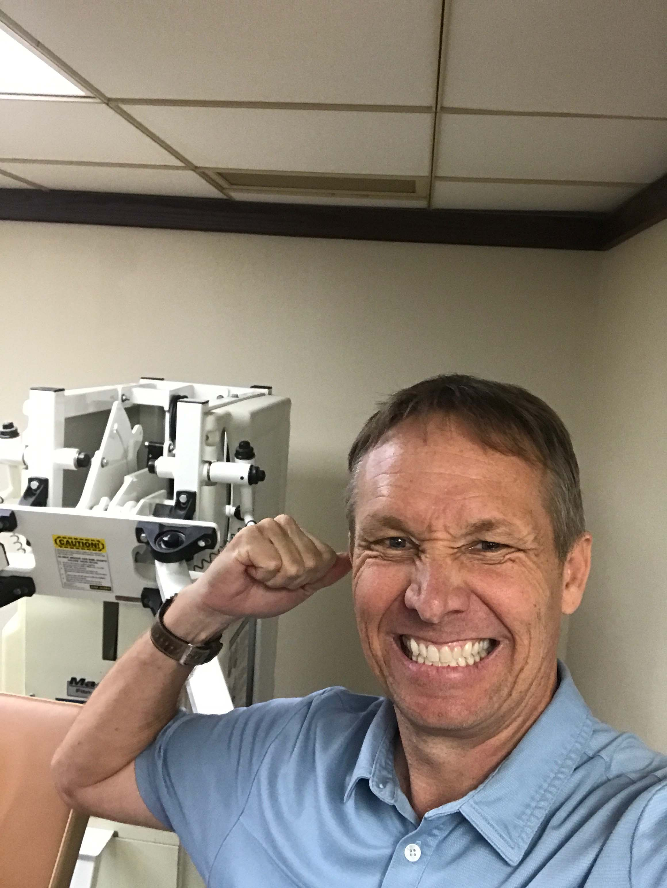 Three weeks after his surgery, Billy was told that he might have to do chemotherapy and that the better shape he was in, the easier it would be on him, so he began working out the very next day.