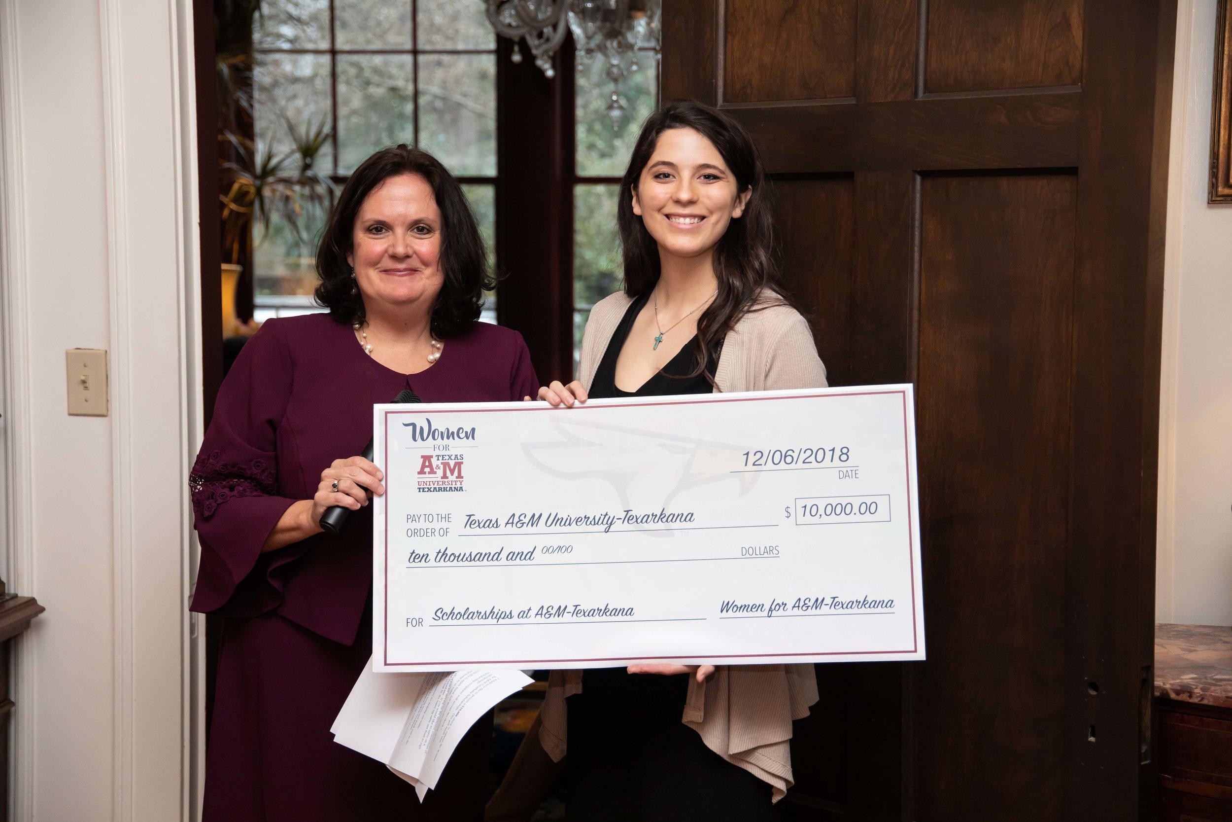 Virginia Trammell, Women for A&M-Texarkana; and Courtney Lebrun, student and scholarship recipient