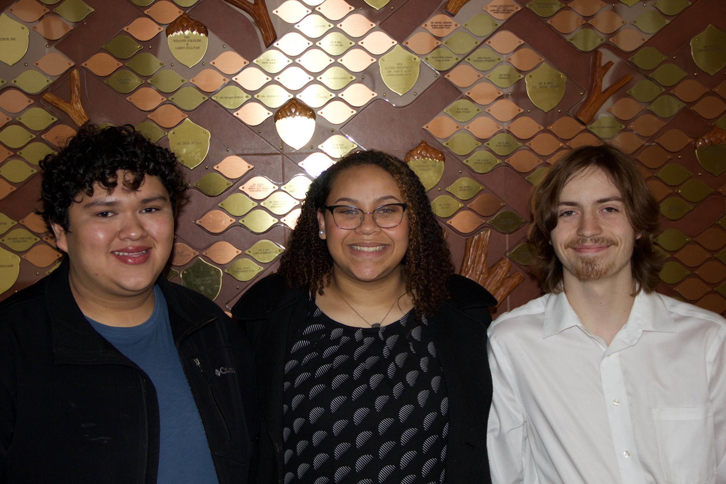 José Velasquez, Haley Jefferson and Caleb Dell