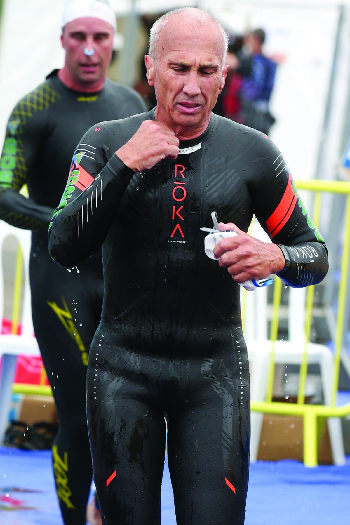 Lee right after getting out of the water during the ITU Aquabike World Championships in Denmark last year.
