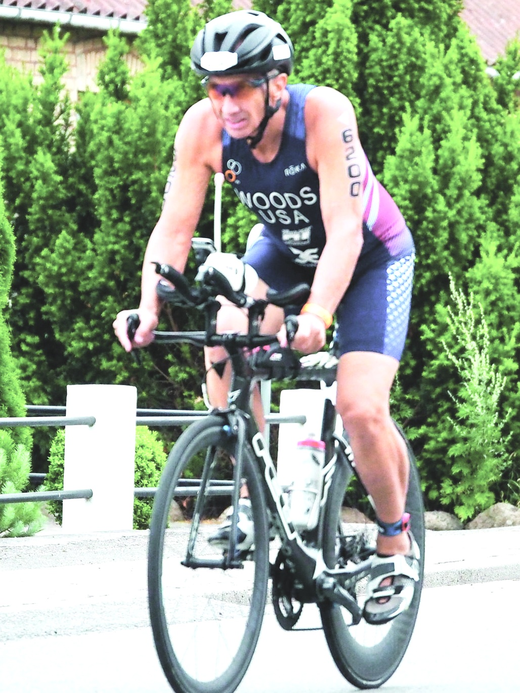 Lee riding his bike during the ITU Aquabike World Championships.