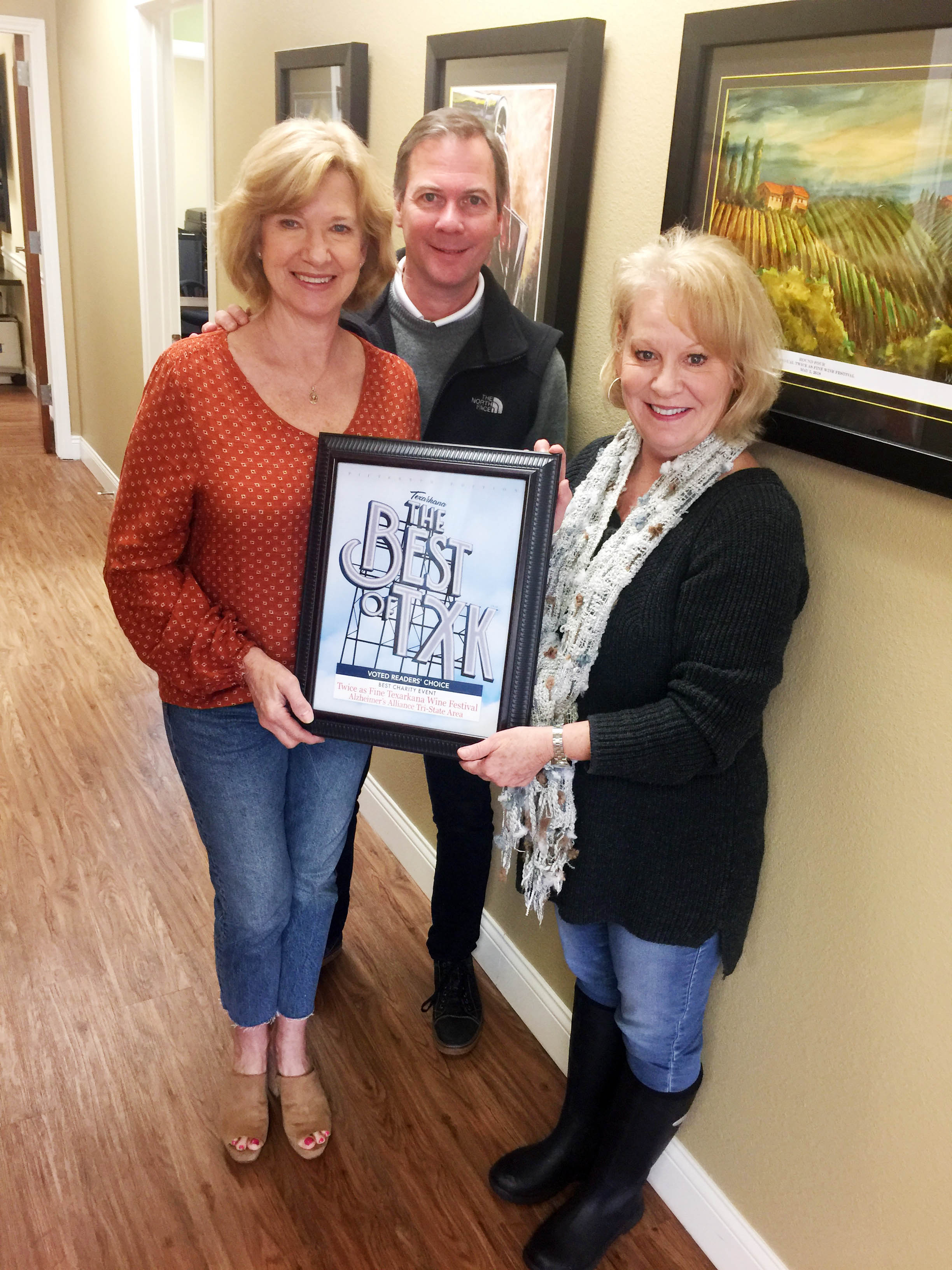 TWICE AS FINE TEXARKANA WINE FESTIVAL - ALZHEIMER'S ALLIANCE TRI-STATE AREA – Cathy and Mark Van Herpen with Terrie Arnold