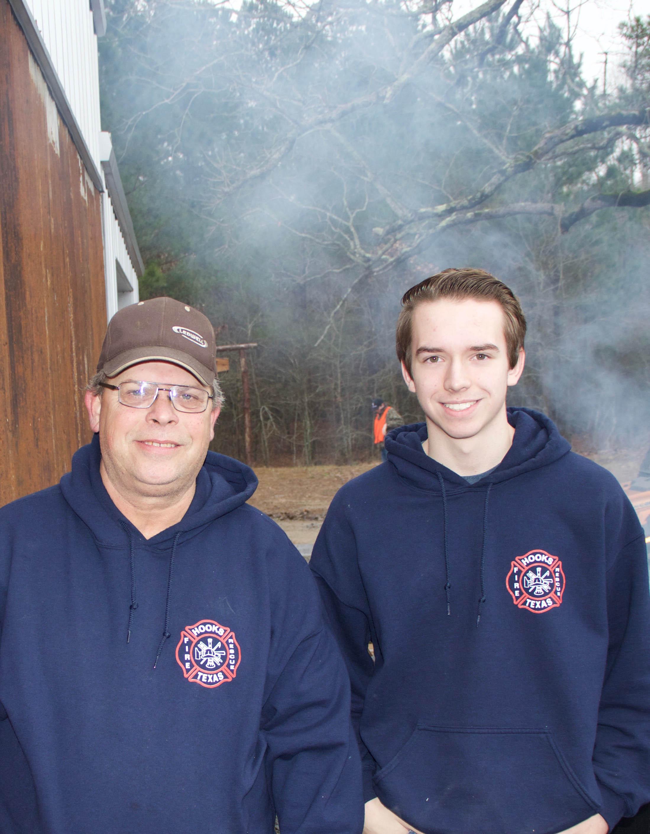 Hooks Volunteer Firemen Jay Farris and Logan Knight