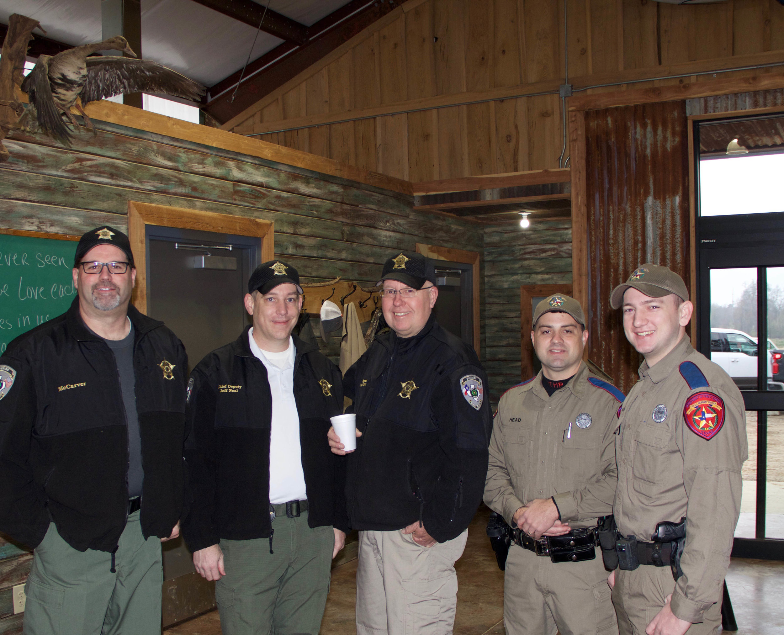 BCSO Captain Robby McCarver, BCSO Chief Deputy Jeff Neal, BCSO Sergeant Danny Meyer, Texas Department of Public Safety Trooper Nathan Head and Trooper Zack Baker