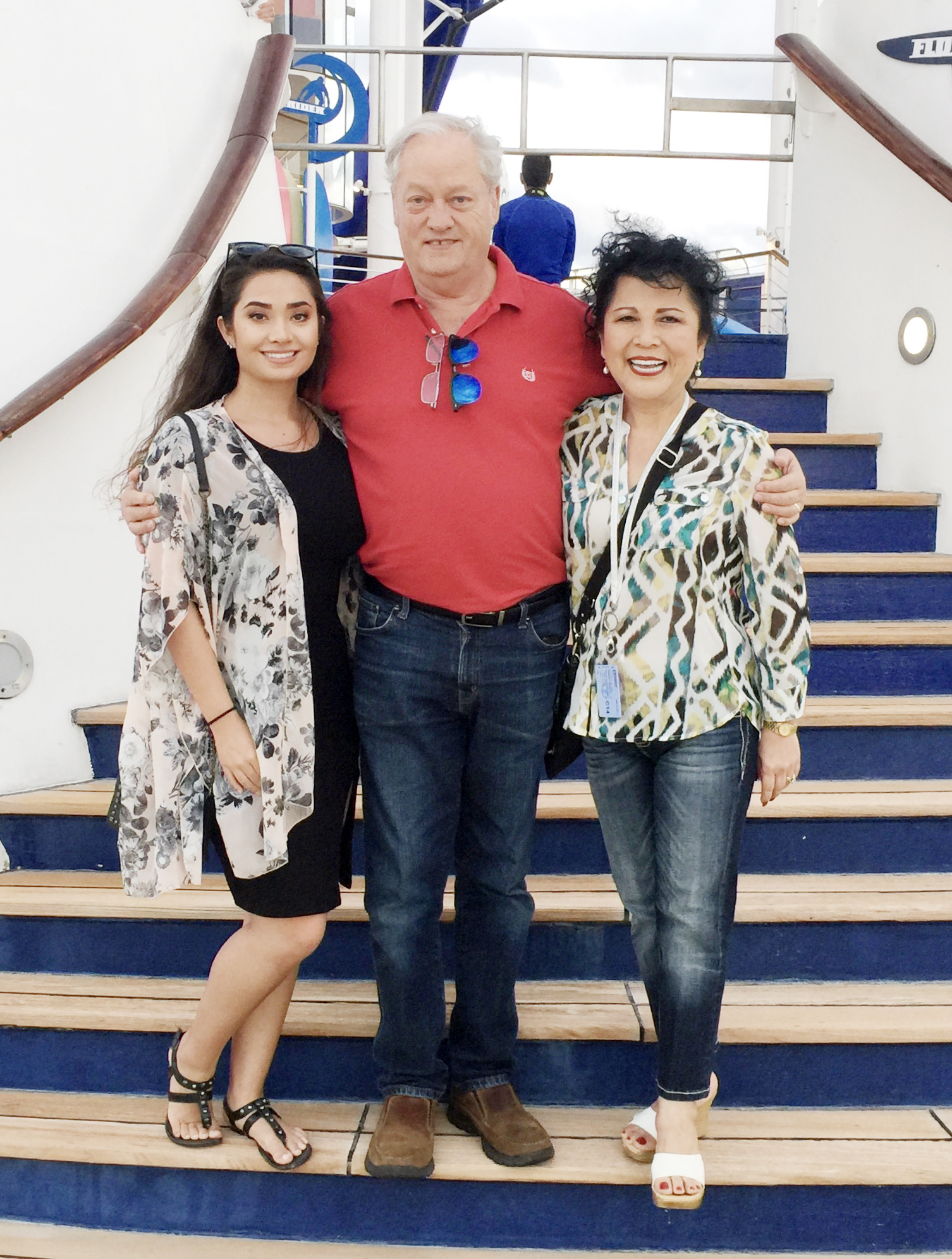 Yulin with her daughter, Shannon, and husband, Jerry, while on a cruise to the Caribbean in December 2017.