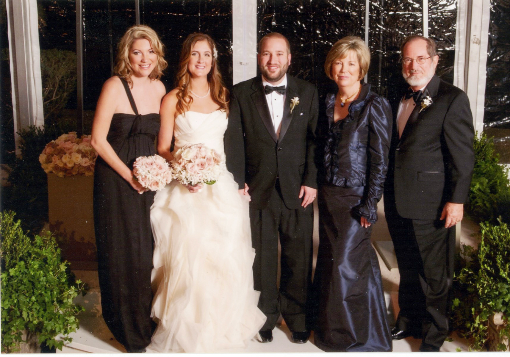 Kate, Jessica, Will, Emily, and Tom during Will and Jessica's wedding in Austin, Texas, on December 29, 2012.