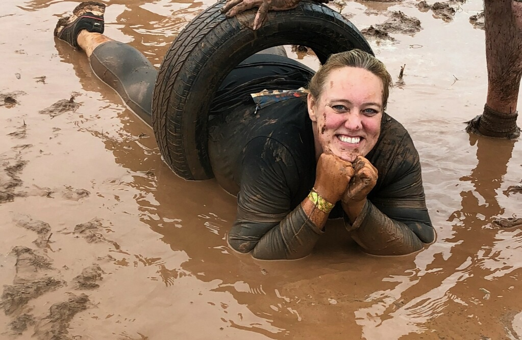After losing 207 pounds, Terri participated in her first 5K, the Mud Run, last September. She overcame many emotions that day and worked through many obstacles that tested her both physically and mentally. She finished the race after climbing, crawling, swimming, slipping, and sliding through the many muddy obstacles.