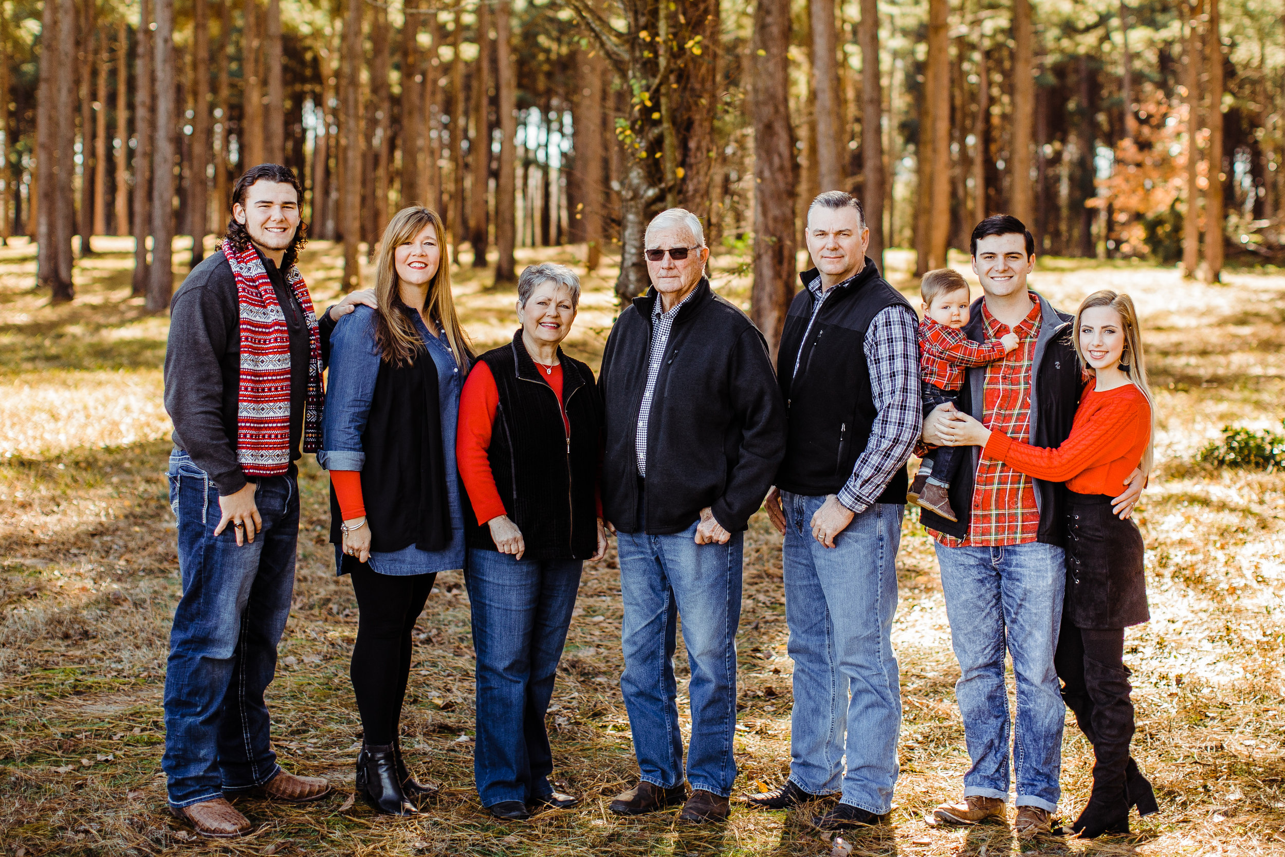 Donna and Jason with their immediate family: son, Christopher; parents, Chris and Don Moore; and son, Warren with his wife, Kaitlyn, and their son, Witten. (Photo by Colton Daffern Photography)