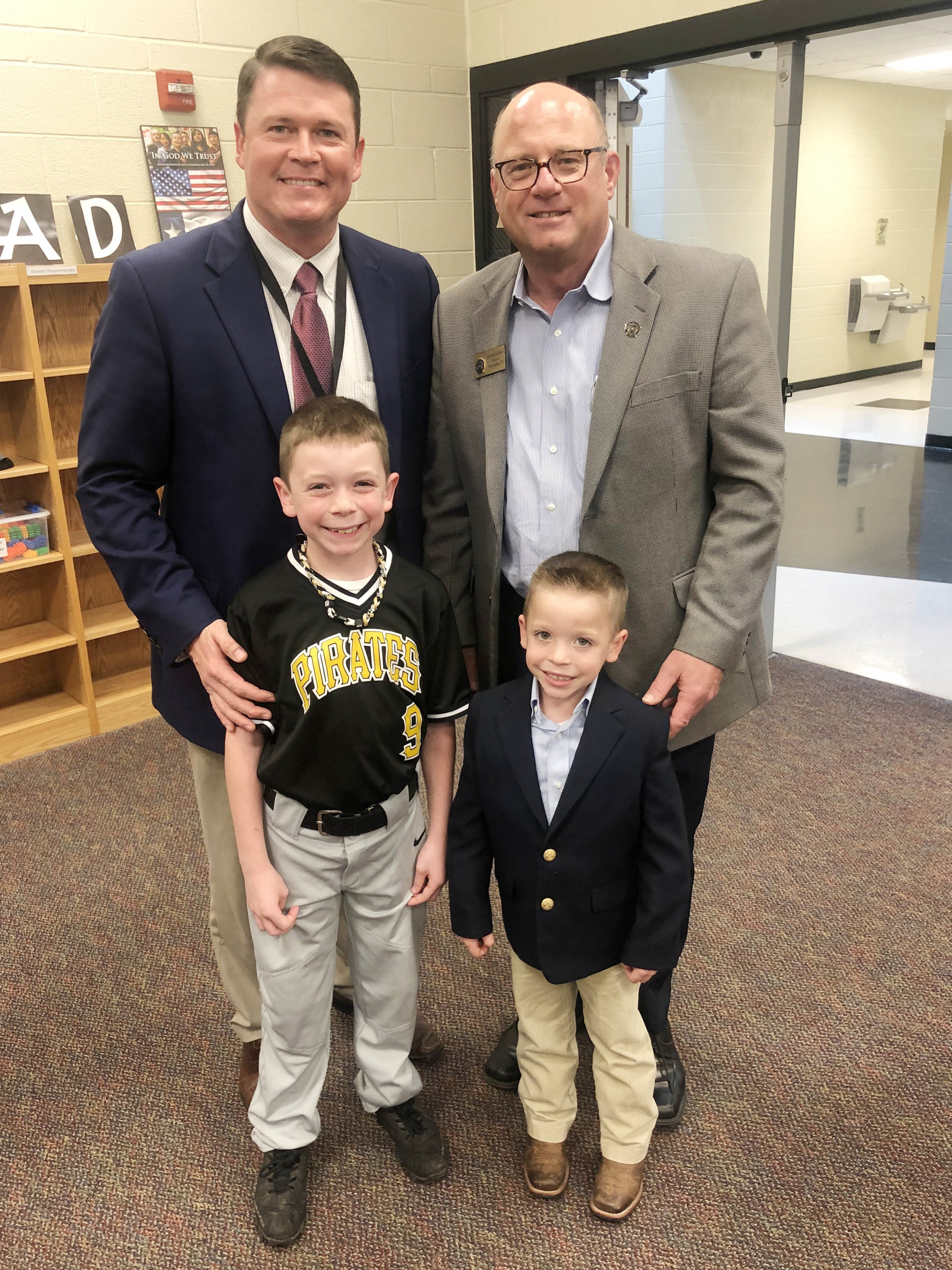 Chad, Jack and Ryan Pirtle with Mayor Bob Bruggeman