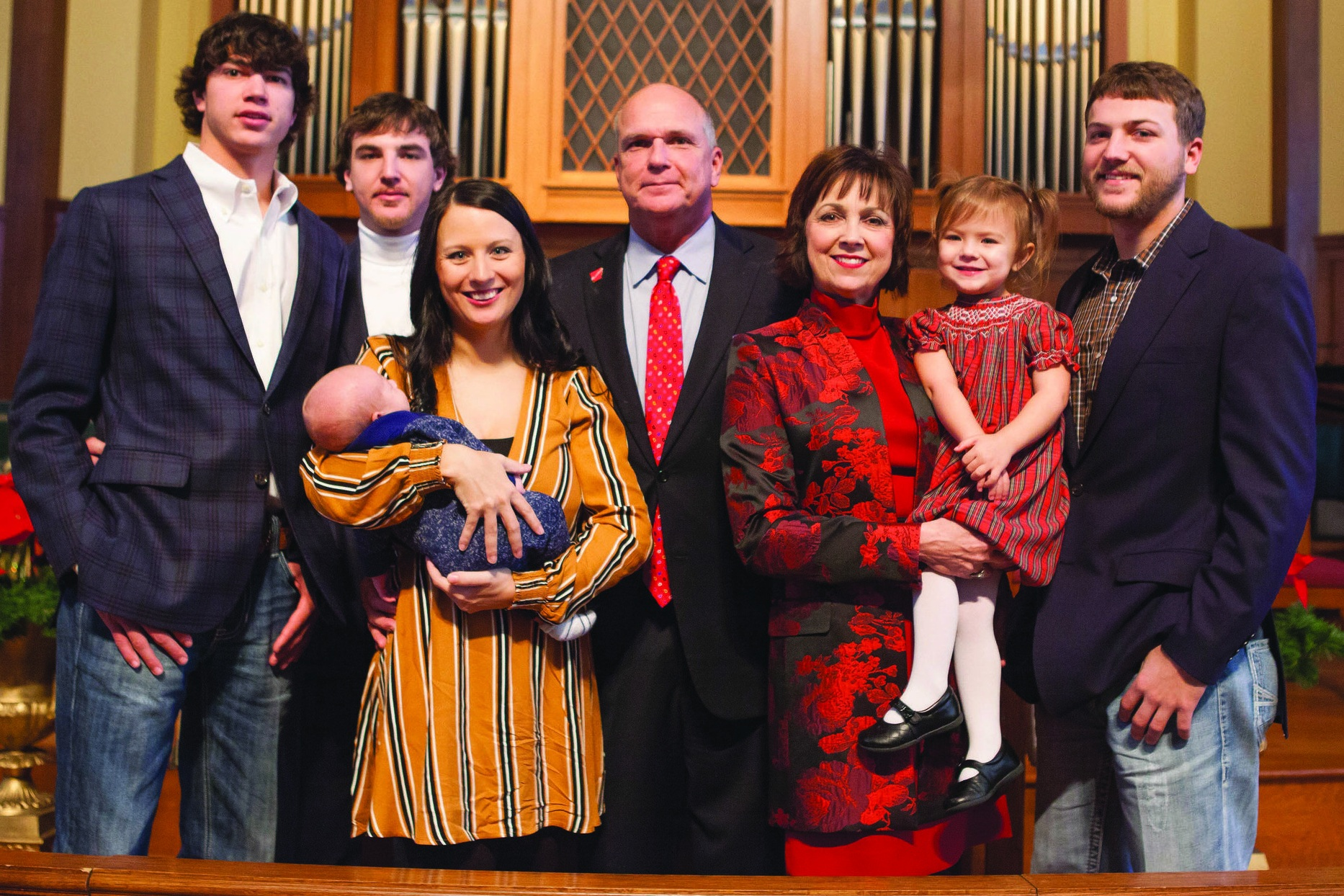 Allen Brown was sworn in as mayor of Texarkana, Arkansas, during a ceremony held January 1, 2019 at First United Methodist Chruch in Texarkana, Arkansas. With him are: son, Peyton; son, Matt; daughter-in-law, Megan; grandson, Manning; wife, Shelby; granddaughter, Sutton; and son, Jared.