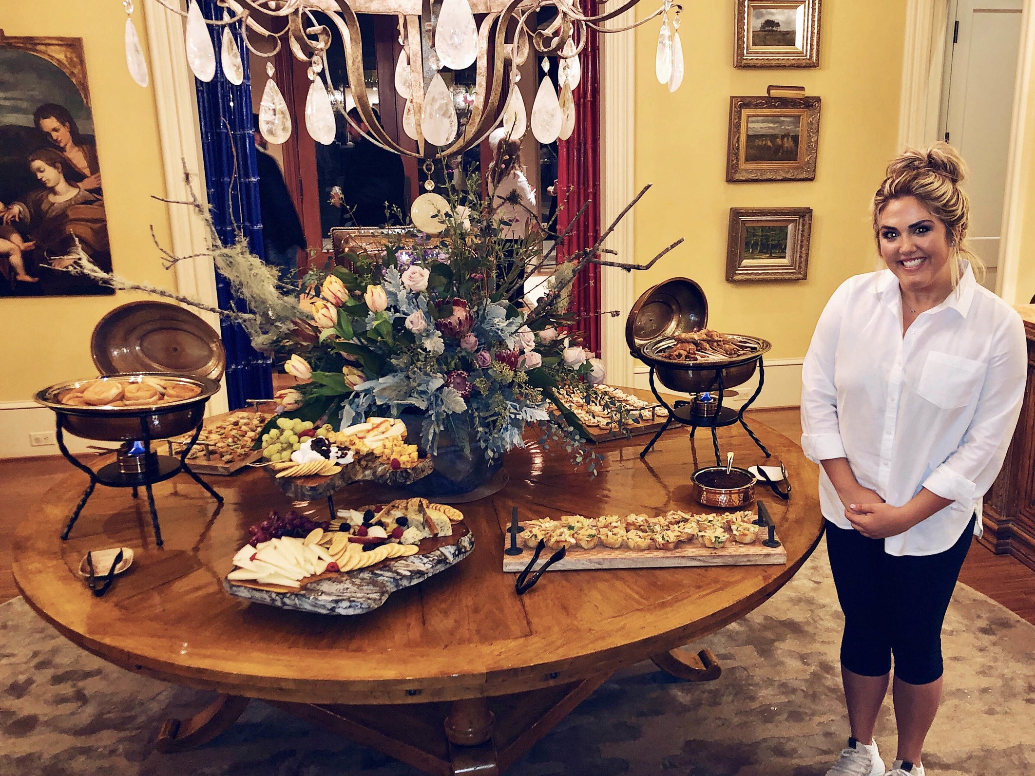 Marjorie with a spread she created for an engagement party at Margaret and Philip Mobley's home.