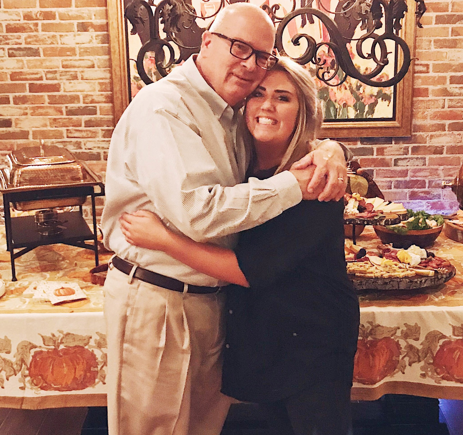 Marjorie and her father, Louis, during her very first catering event for a small party during a class reunion at Pam and Gregg Orr's home.