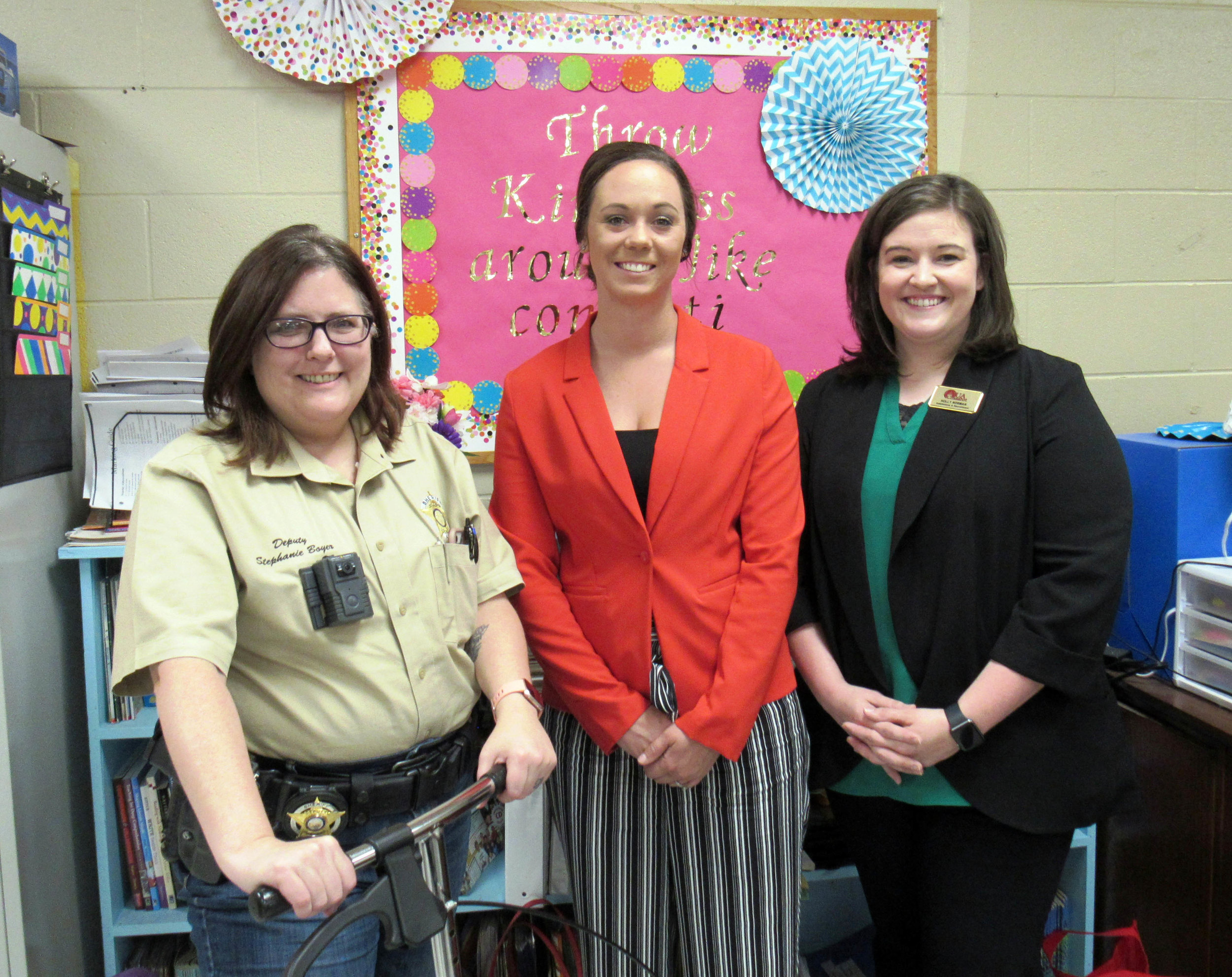 Deputy Stephanie Boyer, Shawna Parry and Holly Norman