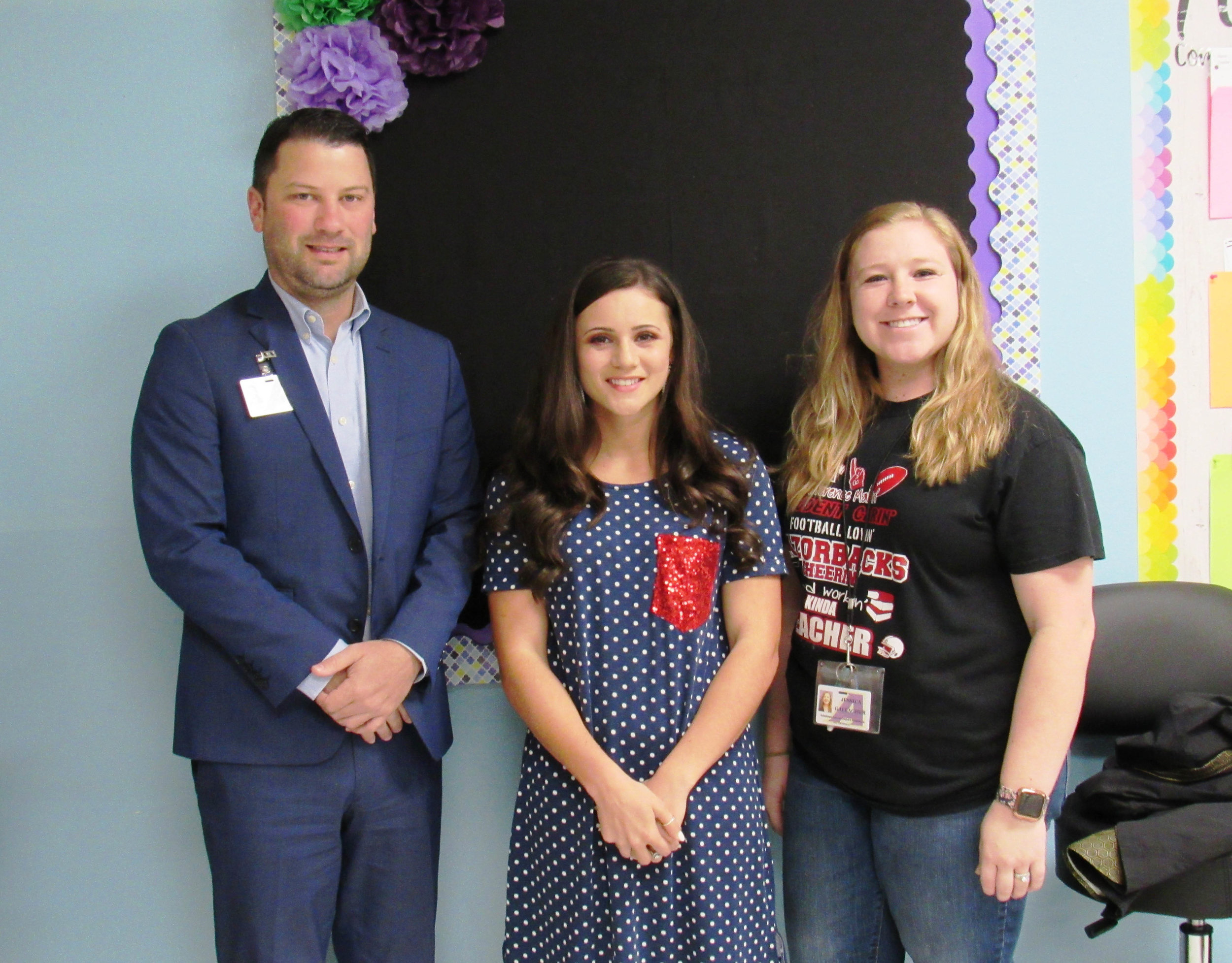 Superintendent Casey Nichols, Emily Mulholland and Jessica Gallagher