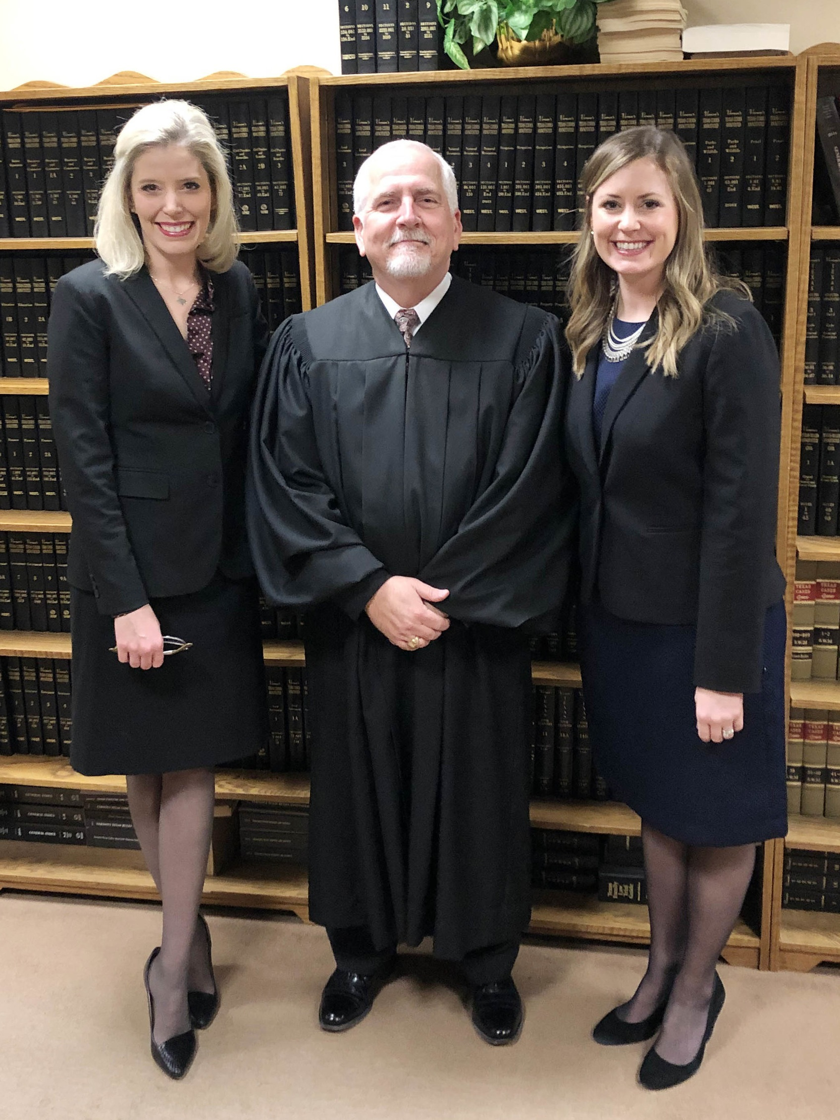 District Judge John Tidwell with Kelley (First Assistant District Attorney) and Lauren (Assistant District Attorney) on January 3, 2019, after their swearing-in ceremonies.