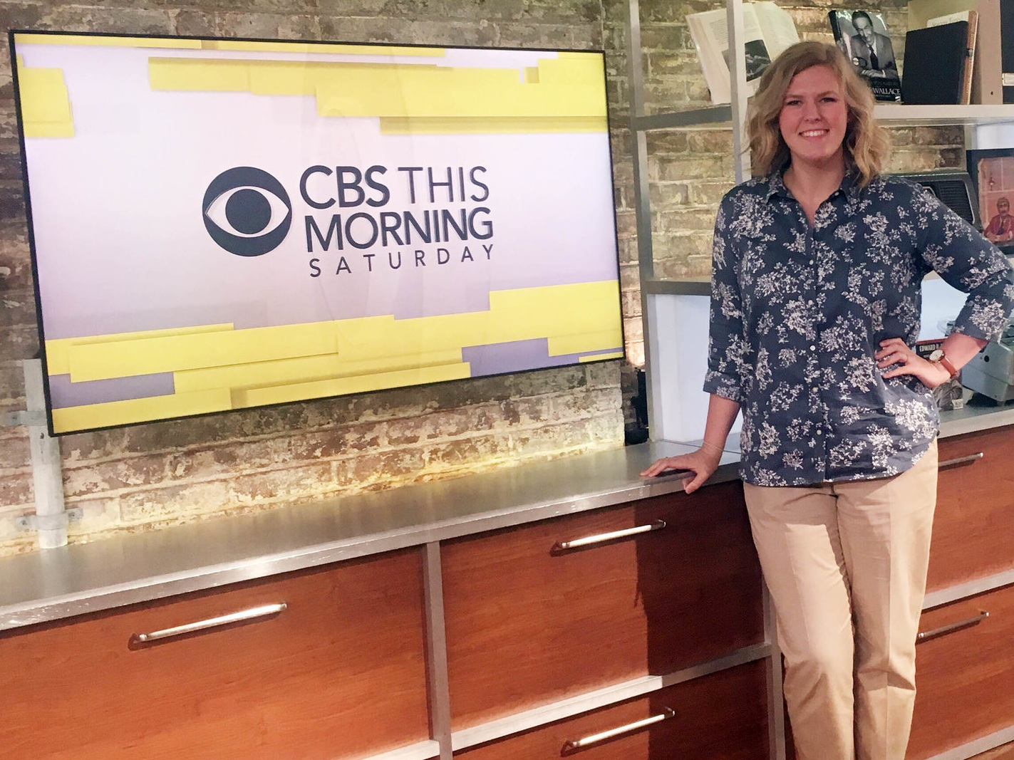 During her internship in 2016, Greer posed in Studio 57 at CBS News.