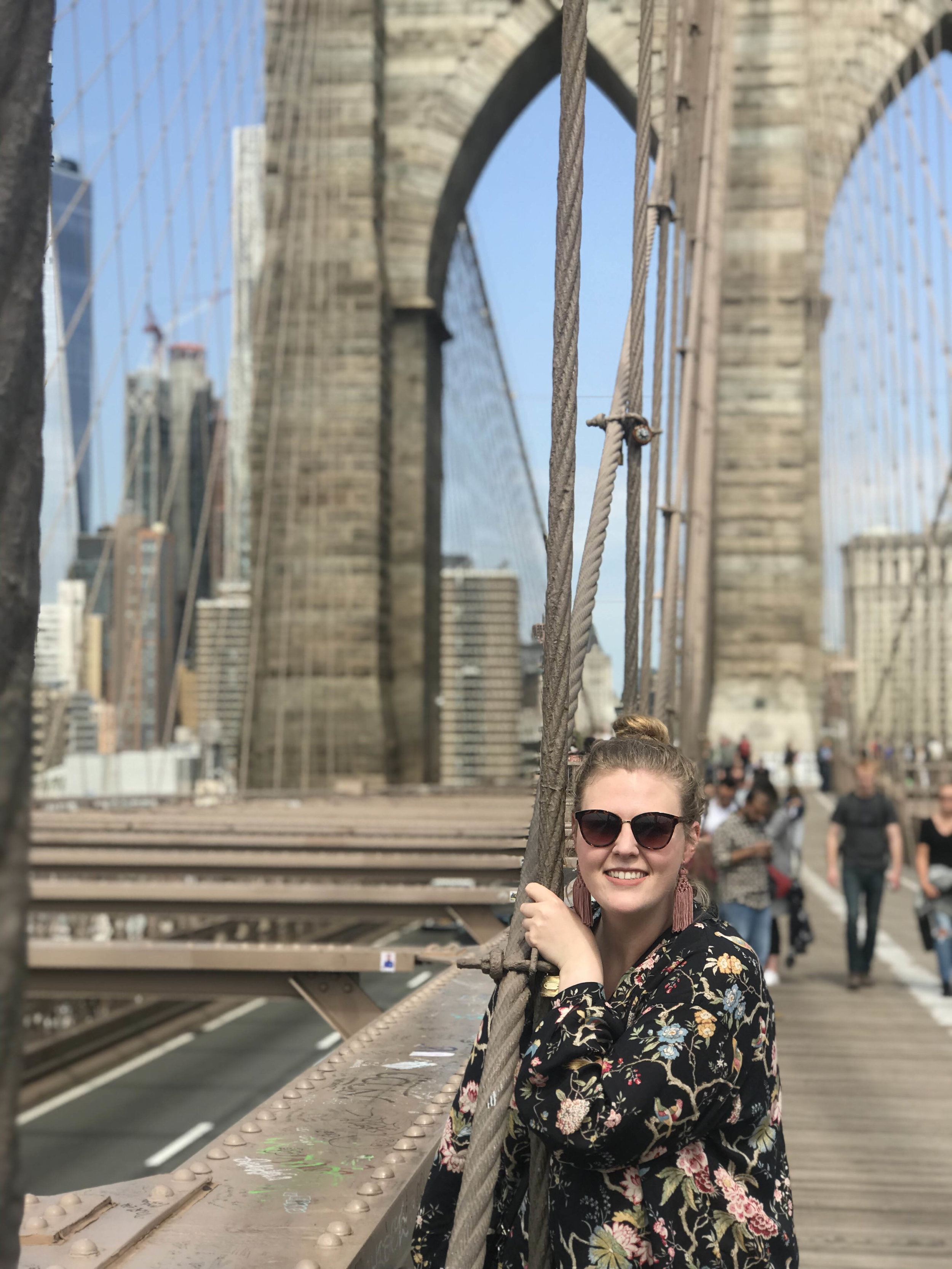 This past spring, Greer enjoyed sightseeing on the Brooklyn Bridge.