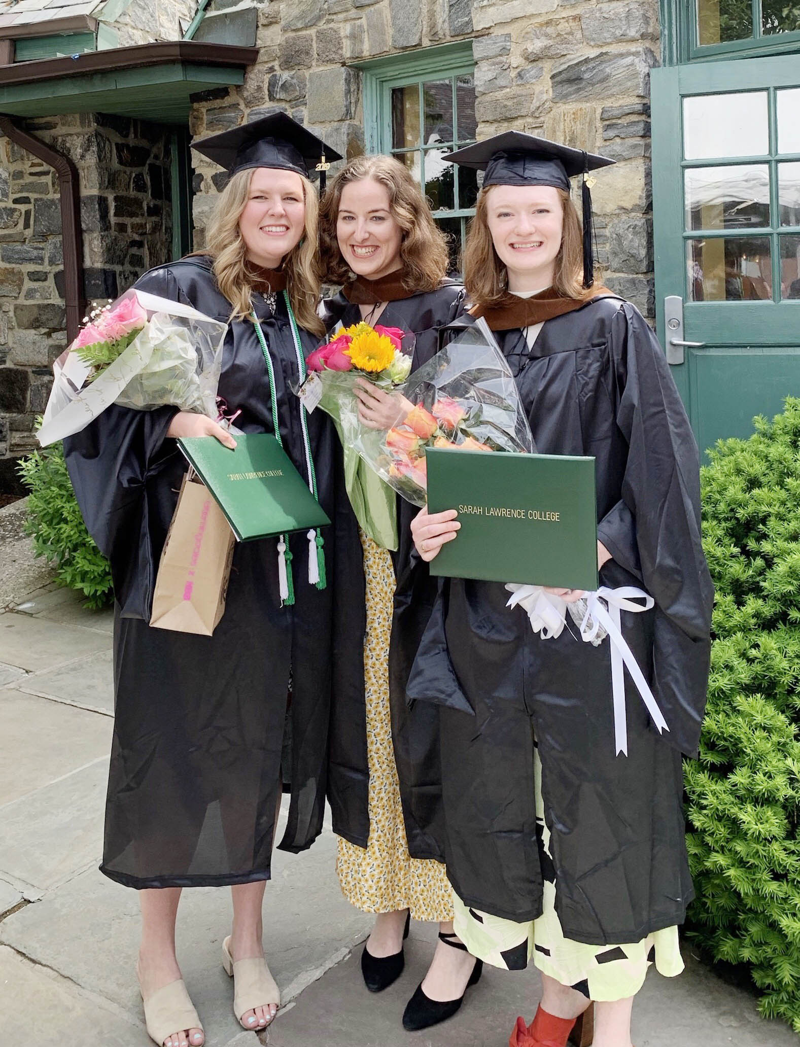 Greer visits with classmates and friends Orli Robin and Maddie Jones after MFA Graduation at Sarah Lawrence College this past May.