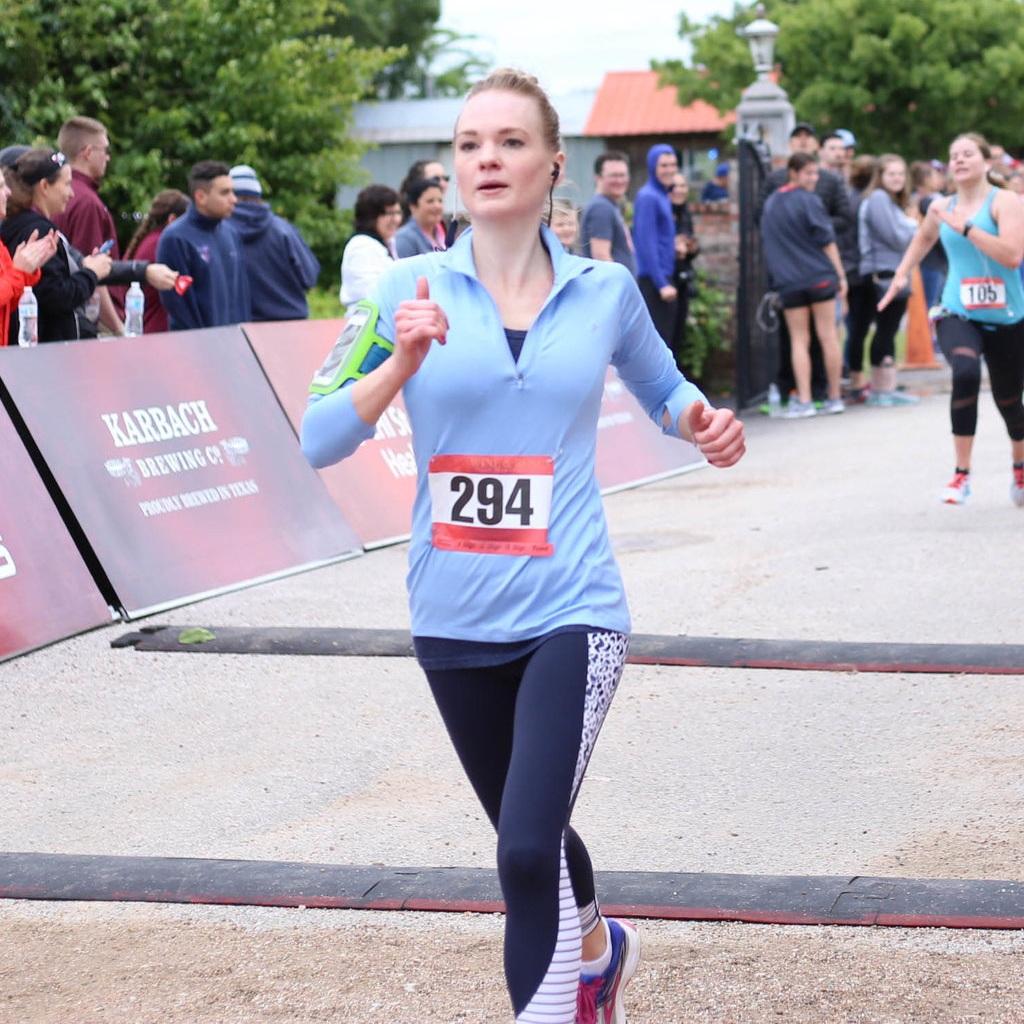 Hadley finishing a half-marathon in April 2018.