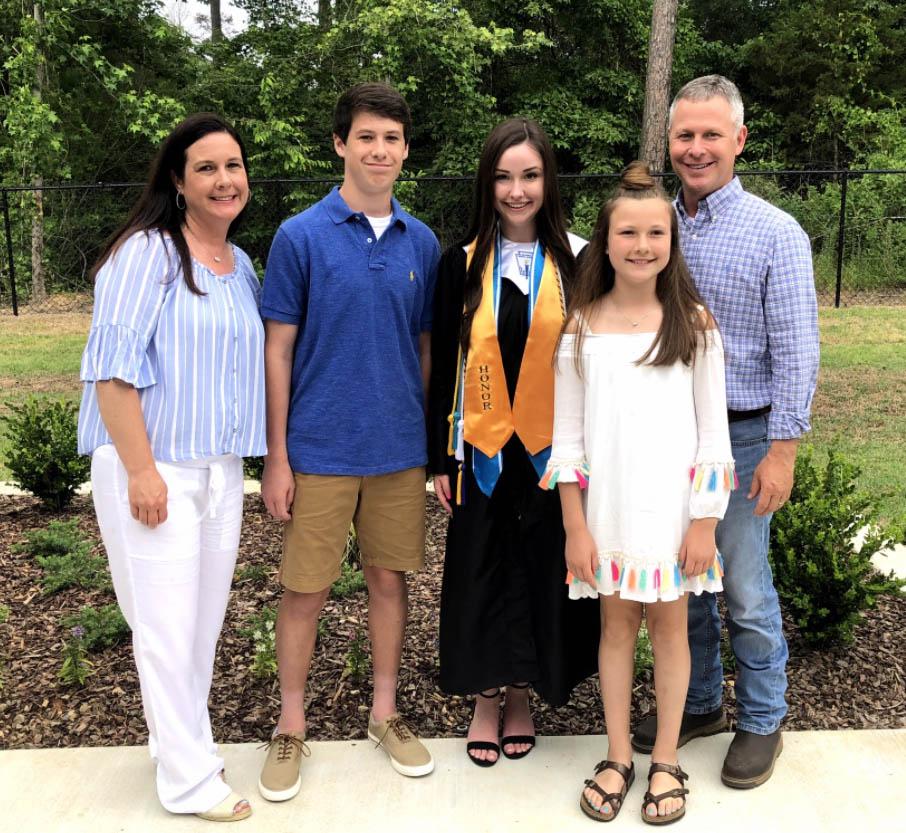 Jami, Coe, Brynn, Mylee and Chad during Brynn's graduation from Pleasant Grove High School in 2018.