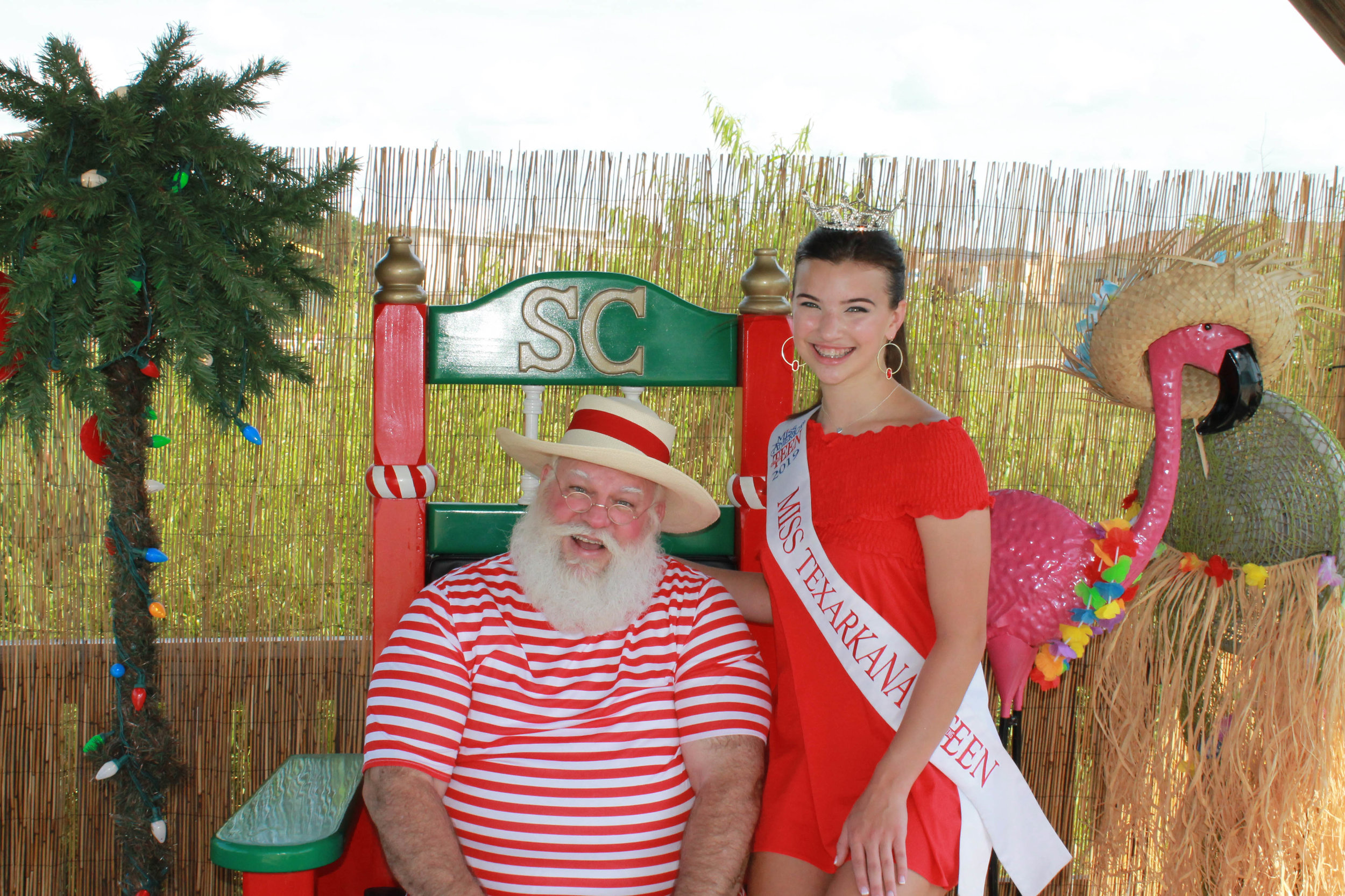 Santa and Miss Texarkana Outstanding Teen Olivia Grace George