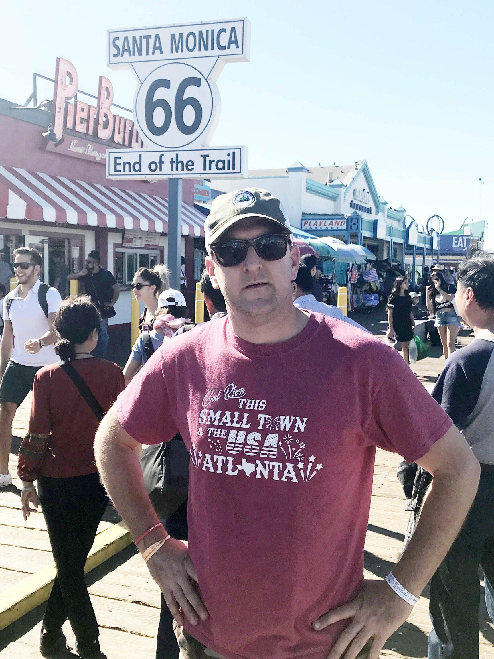 End of the Trail, Santa Monica Pier in Los Angeles, California