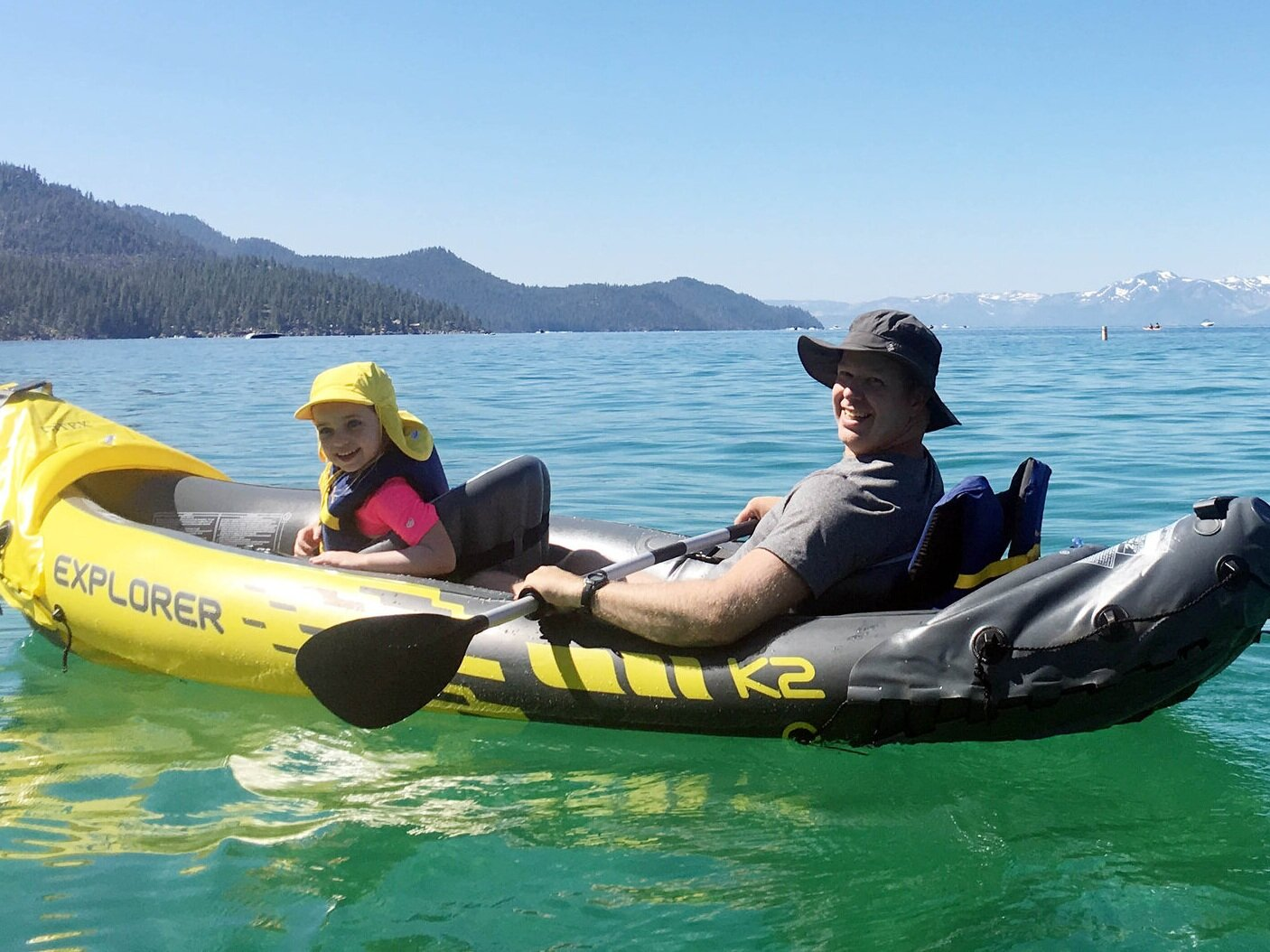 Mirren and Kevin heading out from Sand Harbor on the Nevada side of Lake Tahoe.
