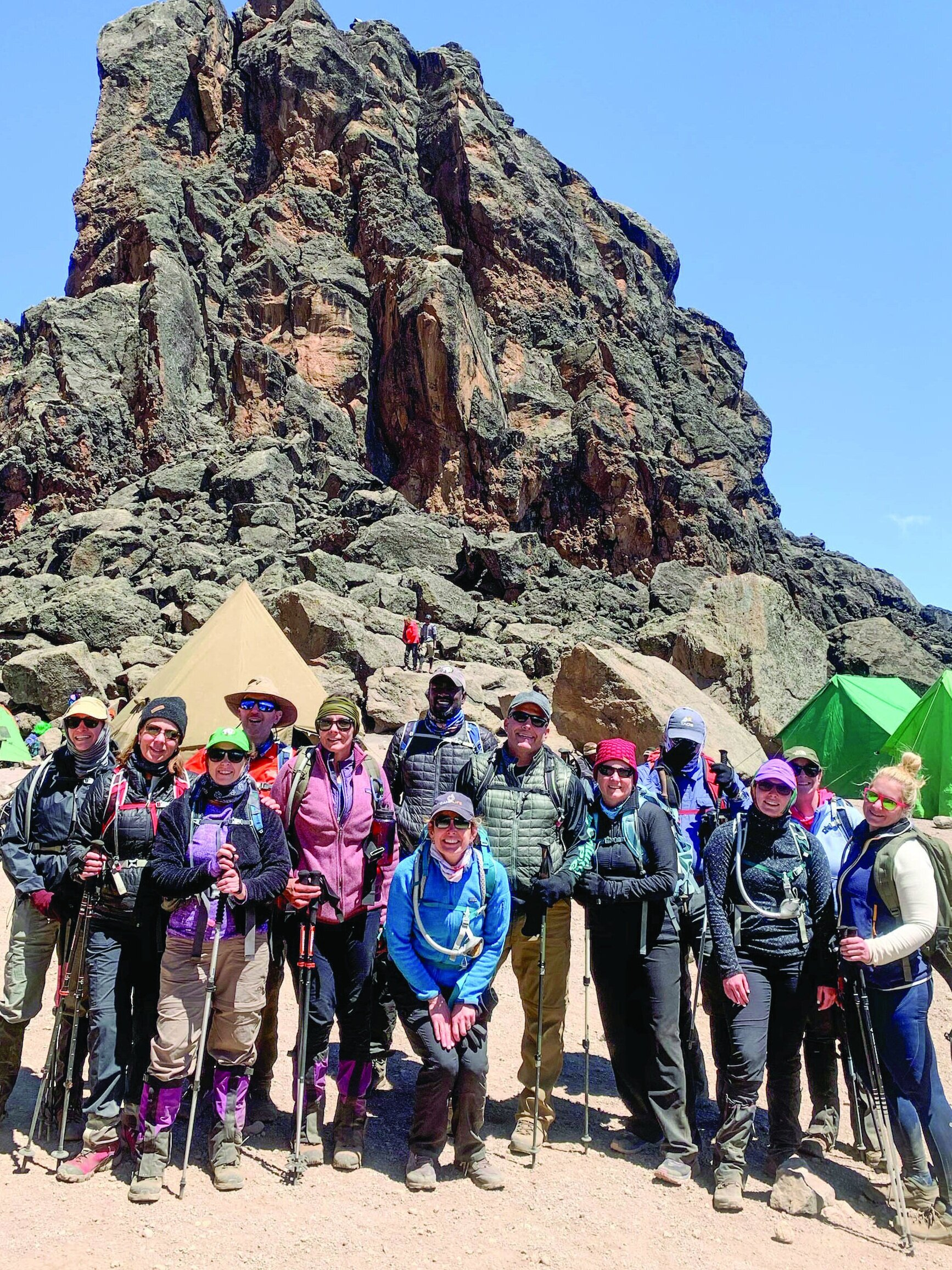 At lava Tower camp, the group hit above 15,000 feet. They ate lunch there and then descended back down to 13,000 feet to Barranco Camp for the night.