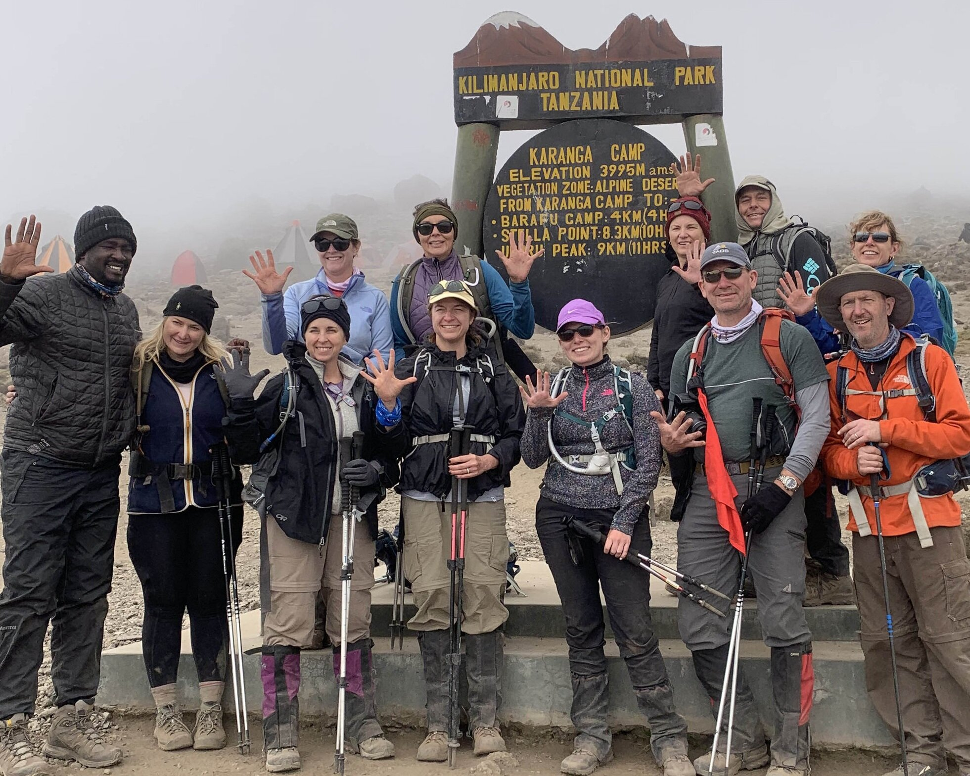 The Texarkana group above and in the clouds at the Karanga Camp after Day 5 of hiking where they racked the most difficult, steep part of the climb (aside from the final summit) called the Barranco Wall.
