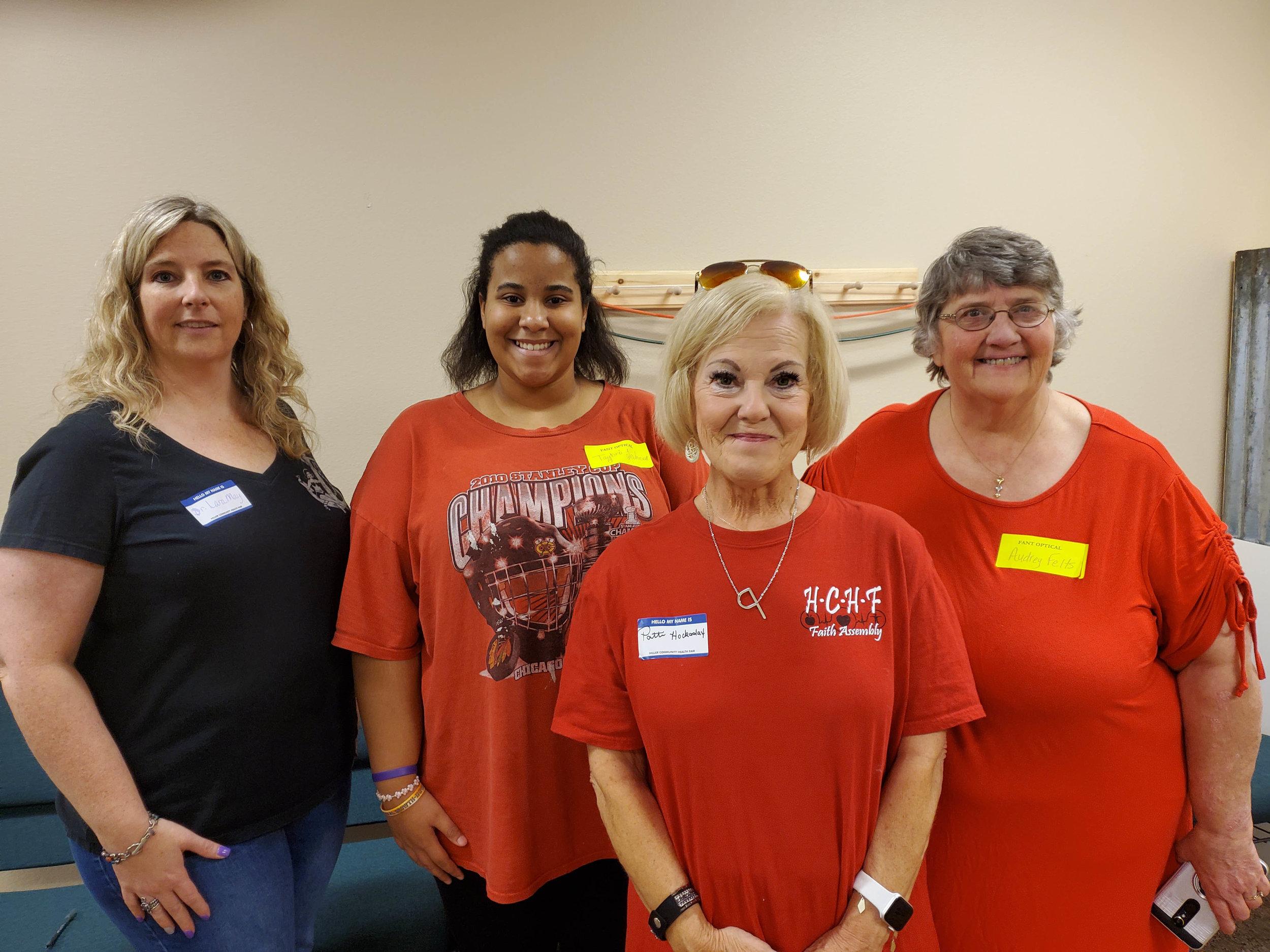 Dr. Lara May, Taybri Johnson, Patti Hockaday and Audrey Felts – Fant Eye Care