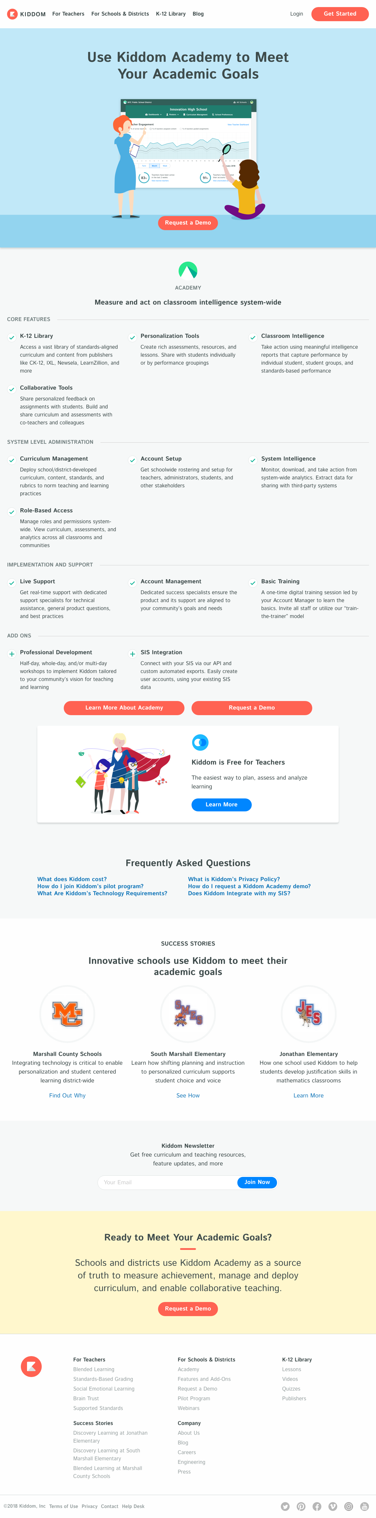 Kiddom Product Feature Listing Page