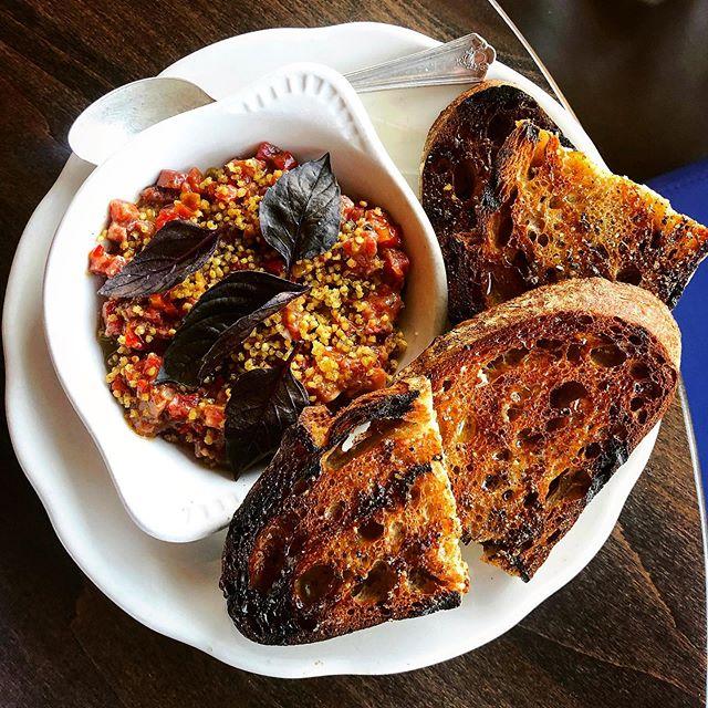 Carne Cruda! @petersoncraftmeats Beef fillet, roasted Carmen peppers, green coriander, pickled ramps, popped millet! #localitalian #onthemenu #raw #local #seasonal #stpaulfoodie #mnfoodie #tartare #crudo