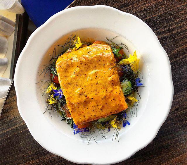 New dish! Poached Steelhead Trout with a carmen pepper sauce, cherry tomatoes, cucumber All'acqua Pazza. #seasonalitalian #seasonal #crazywater #allacquapazza #local #flowerpower #mnfoodie #stpaulfoodie #greenfoodie @waxwingfarmmn @twinorganics @thefishguysinc
