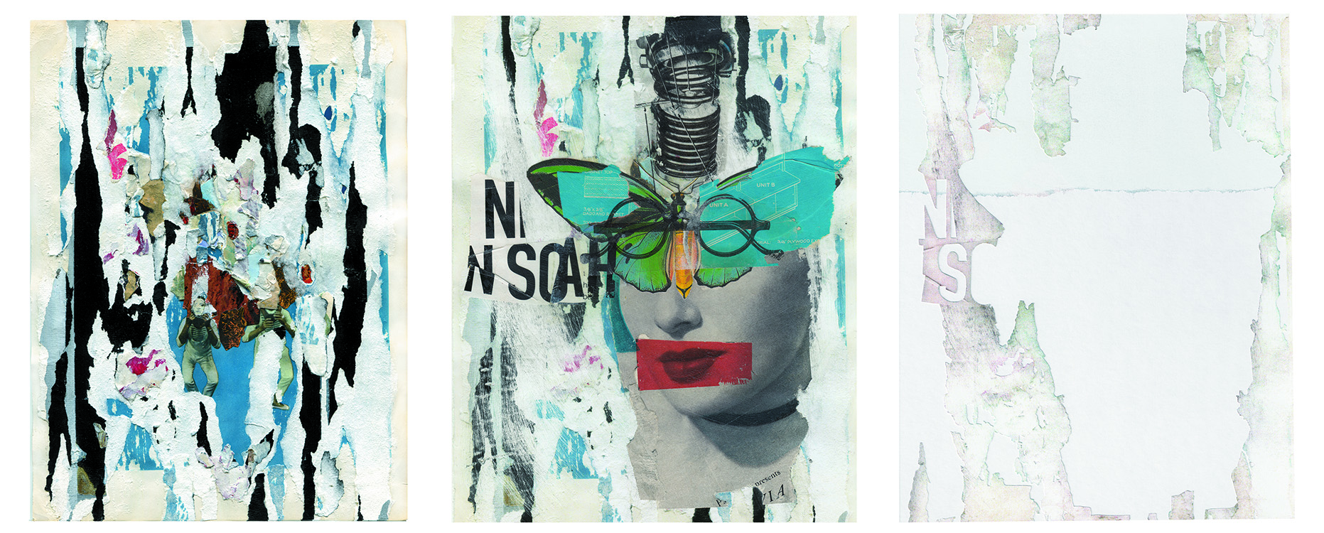 From left to right:  Untitled 09,  Issue 1, Andrea Burgay;  Masque , Issue 2, Allan Bealy;  Untitled,  Issue 3, Rubén Frejo