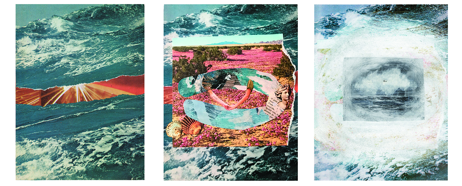Left to right:  Untitled 10,  Issue 1, Andrea Burgay;  Between the Waves , Issue 2, Jess Costanzo;  Air,  Issue 3, Luciana Frigerio