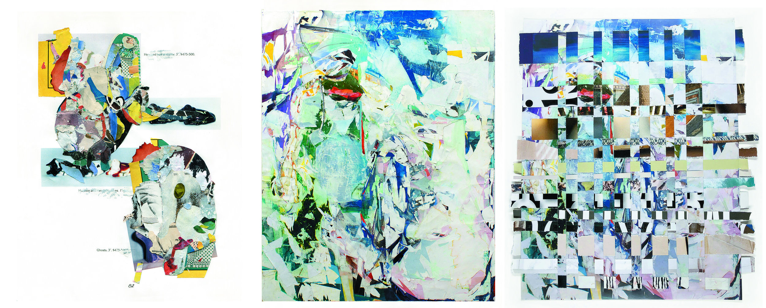 Left to right:  Untitled 18,  Issue 1, Andrea Burgay;  Notice. Novice.  Issue 2, Kristy Hughes;  Fore/Background  Issue 3, Janice McDonald