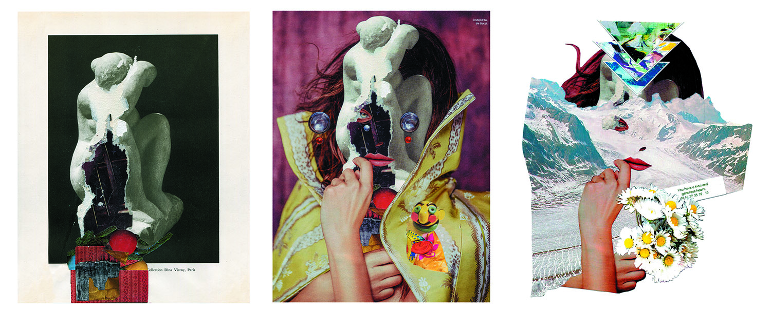 Left to right:  Untitled 04,  Issue 1, Andrea Burgay;  Dr.Strange , Issue 2, Cless;  Beneath the Cold Mask,  Issue 3 submission, Vanessa Vargas