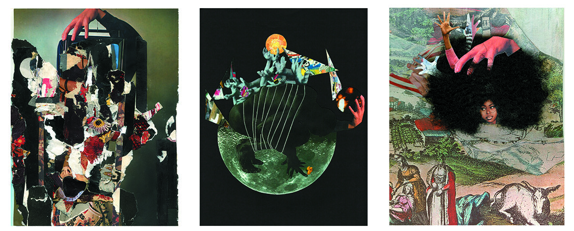 Left to right:  Untitled 05,  Issue 1, Andrea Burgay;  Unbinding Burdens,  Issue 2, Vanessa Vargas,  Power,  Issue 3, Ashante Kindle