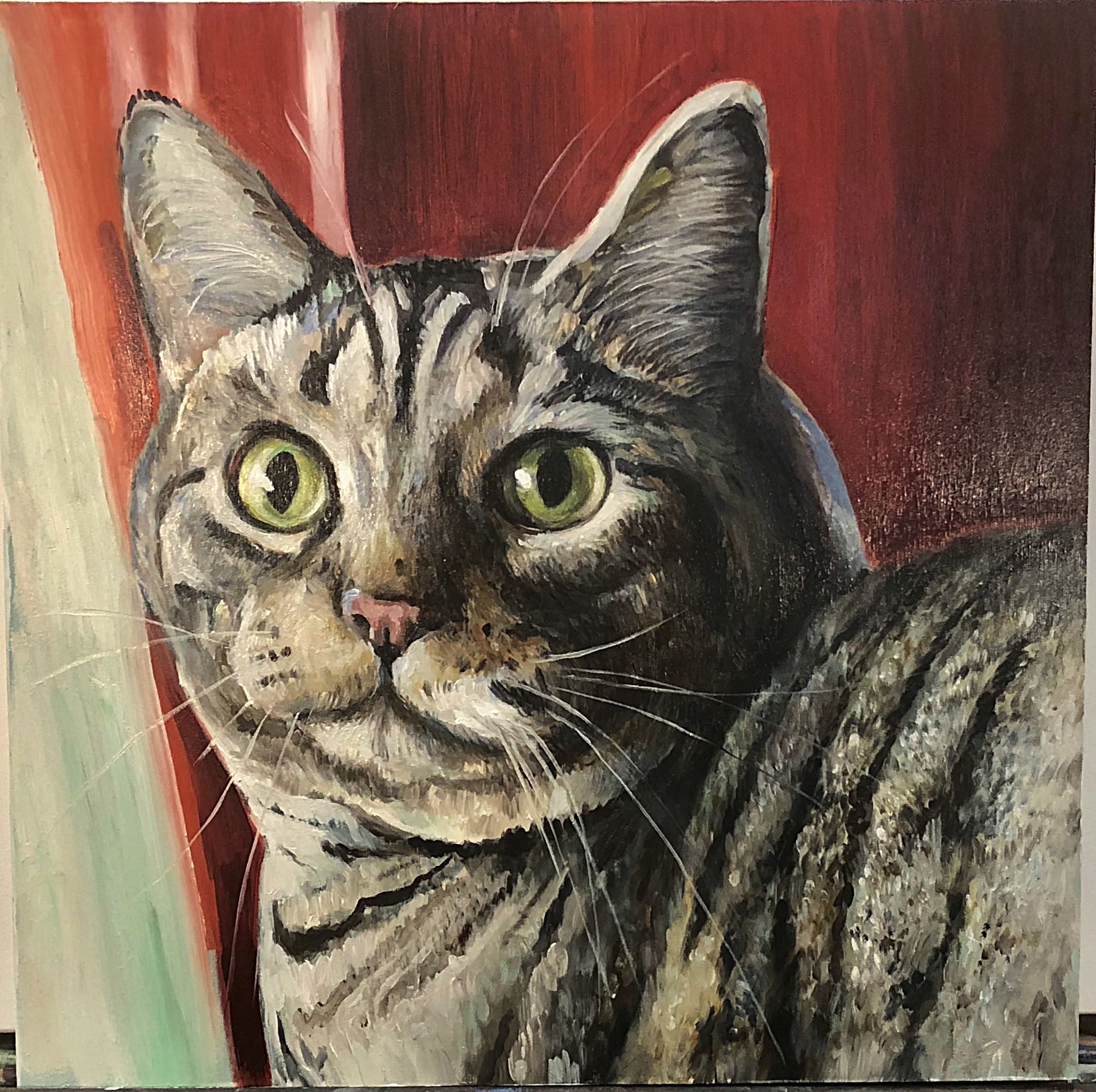 """VESSY THE TABBY Oil on Wood Panel 24""""x 24"""""""