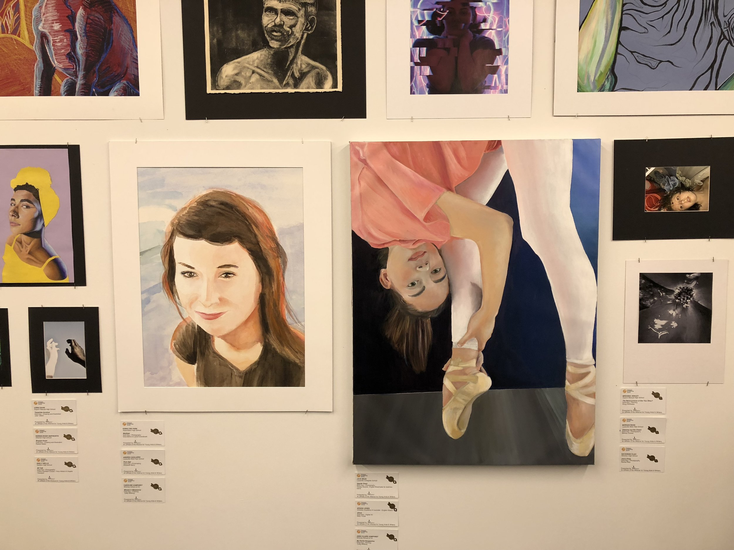 Displayed: Gold Key Louisville Regional awarded to two of my students. Watercolor: Portrait and Oil on Wood Panel: Self- Portrait