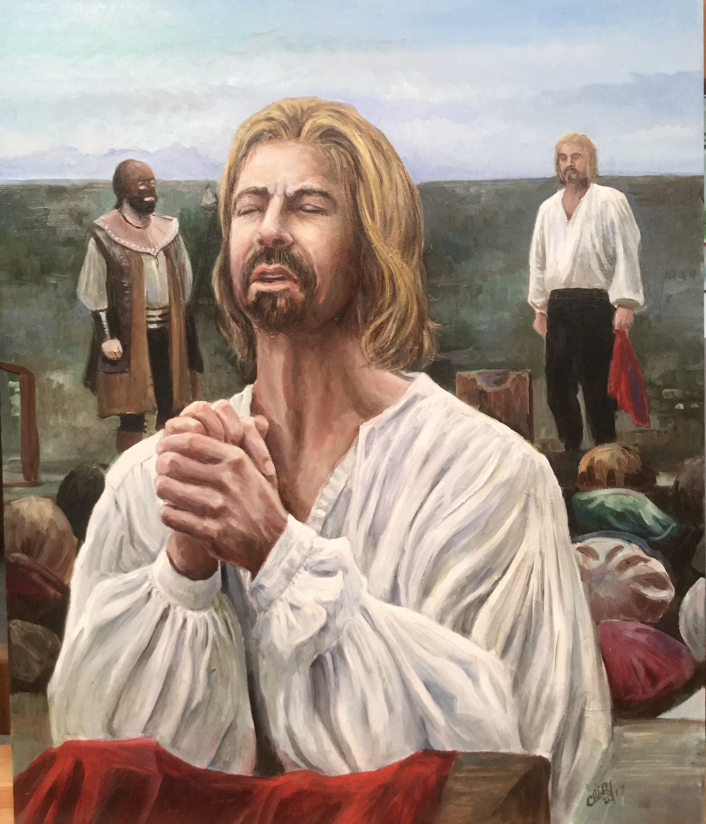 Prayer Before Execution: Christopher Love      Oil 20x24  Cover Illustration: Puritan Heroes                2018