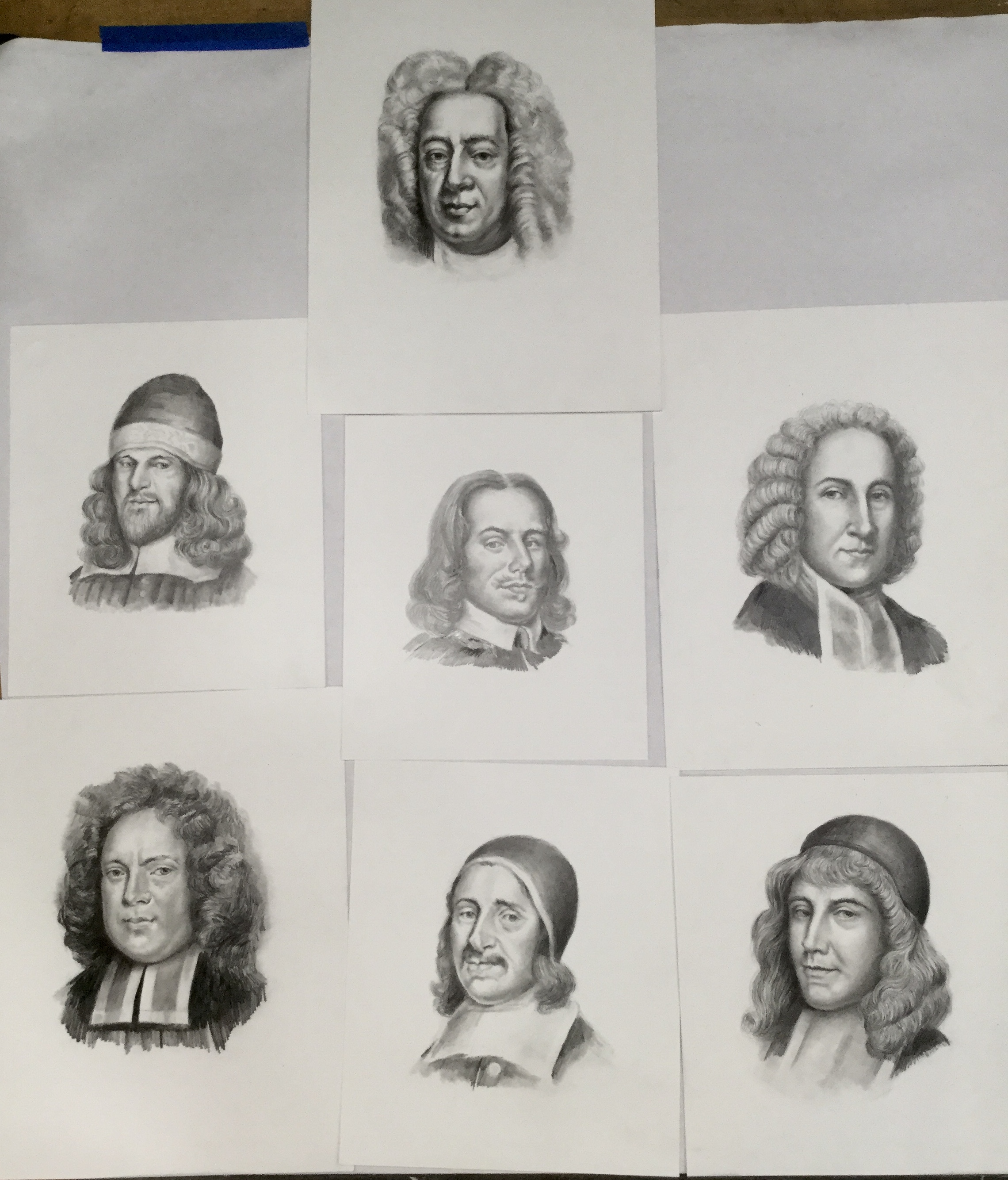 """Chapter black and white illustrations for """"Puritan Heroes"""" 2018"""
