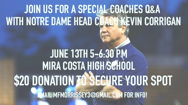 🚨🚨SPOTS ARE LIMITED!🚨🚨 Come learn from one of the best in college coaching, Kevin Corrigan. If you have any questions feel free to email Maddy Morrissey - email above! #goat #coaching #positivecoaching #losangeles #uslacrosse