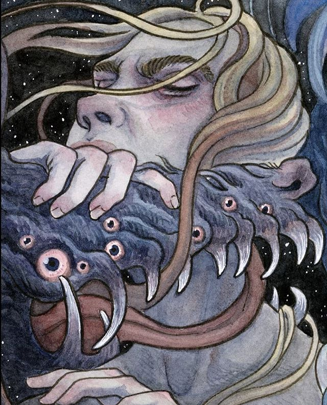 Detail from the Eight of Dreams from the Blood Moon Tarot.⠀ ⠀ #occultism #occultartists #occultist #witchesofinstagram #witchyvibes #witchaesthetic #witchlife #witchylife #witchessociety #witchvibes #witchsociety #witchythings #witchy #witchcraft #witchery #demons #fantasyart #fantasyillustration #fantasy #tarot #tarotdeck #bloodmoontarot #samguay