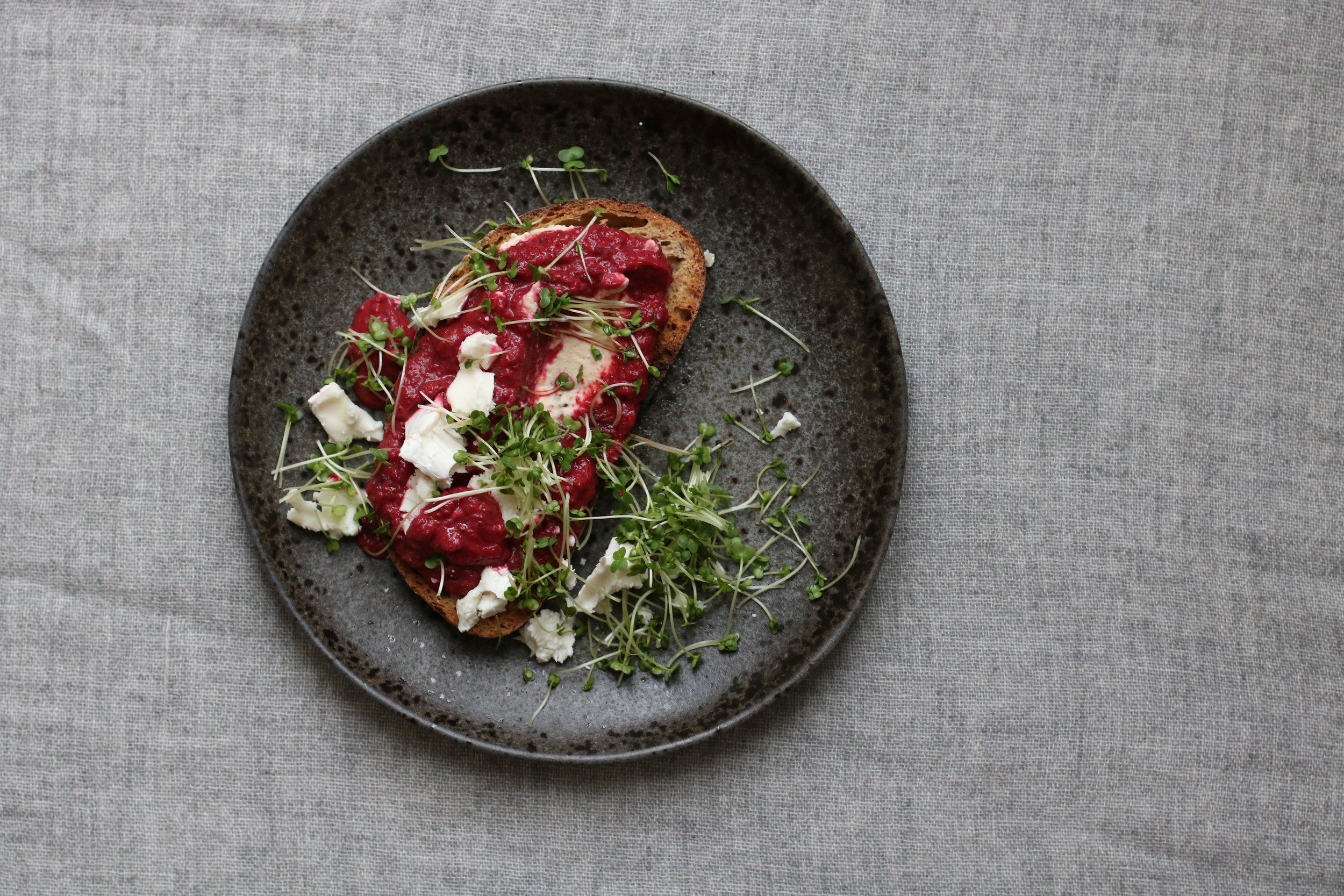 BEETROOT TOAST   All year round.  Beetroot is pretty much grown throughout the year in the UK, plus they keep for ages so you can make this whenever you fancy.