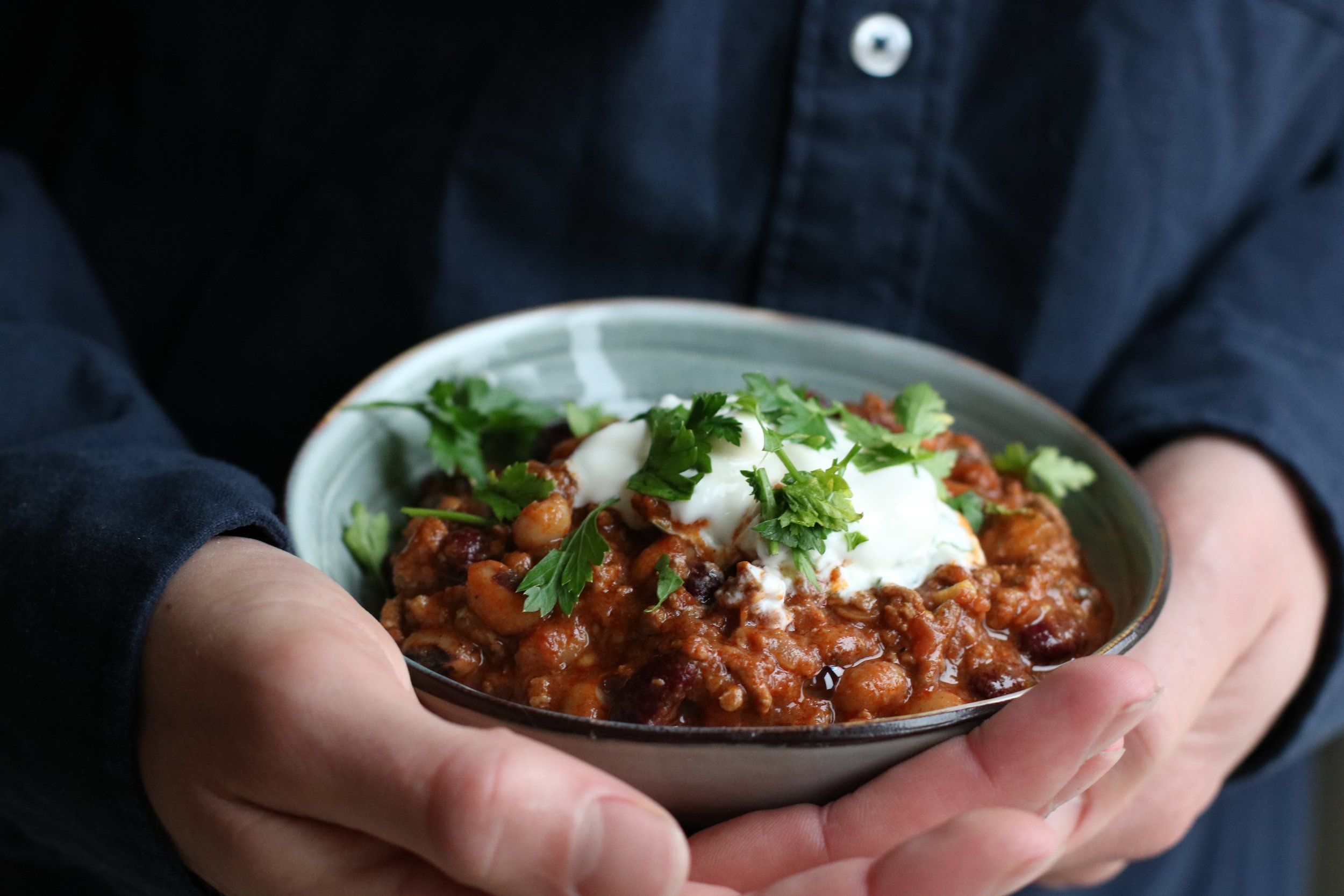 BRITISH BEEF CHILLI   All year round.  A warming winter classic, with beautiful beef, mixed beans, plenty of herbs and spices.