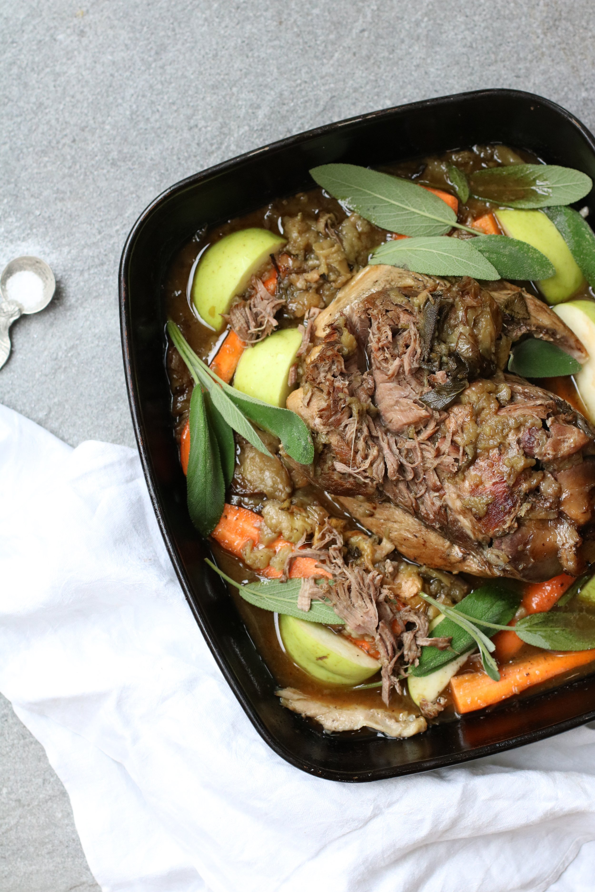 PORK SHOULDER WITH APPLE & SAGE   August-November . An autumn recipe for all those homegrown apples in the garden. Use outdoor bred local pork shoulder.