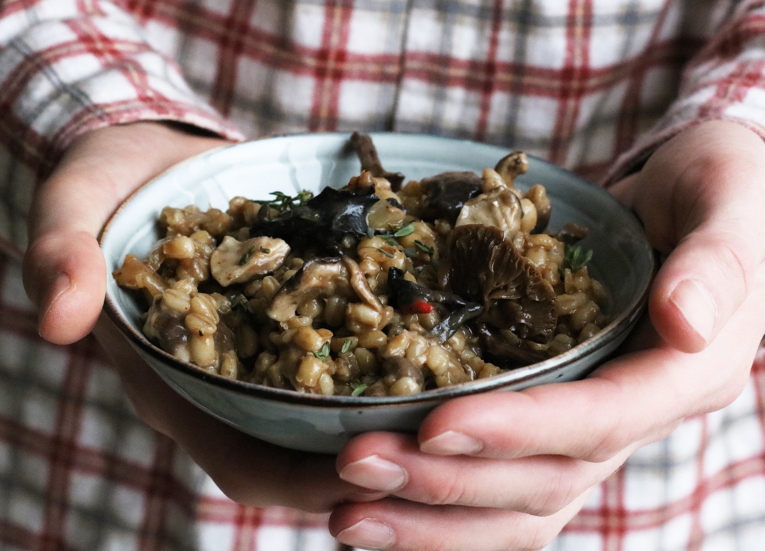 MUSHROOM & BARLEY RISOTTO   All year round.  Nutty wild mushrooms paired with my favourite British grain - barley. This recipe creates a creamy, earthy bowl of goodness.